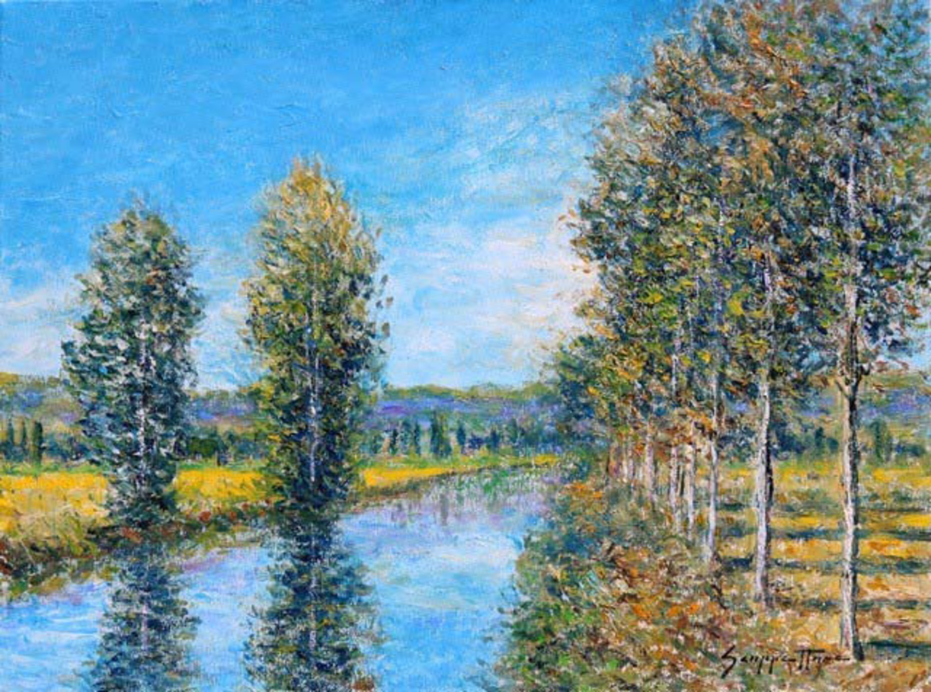 Poplars Along The Bank by James Scoppettone