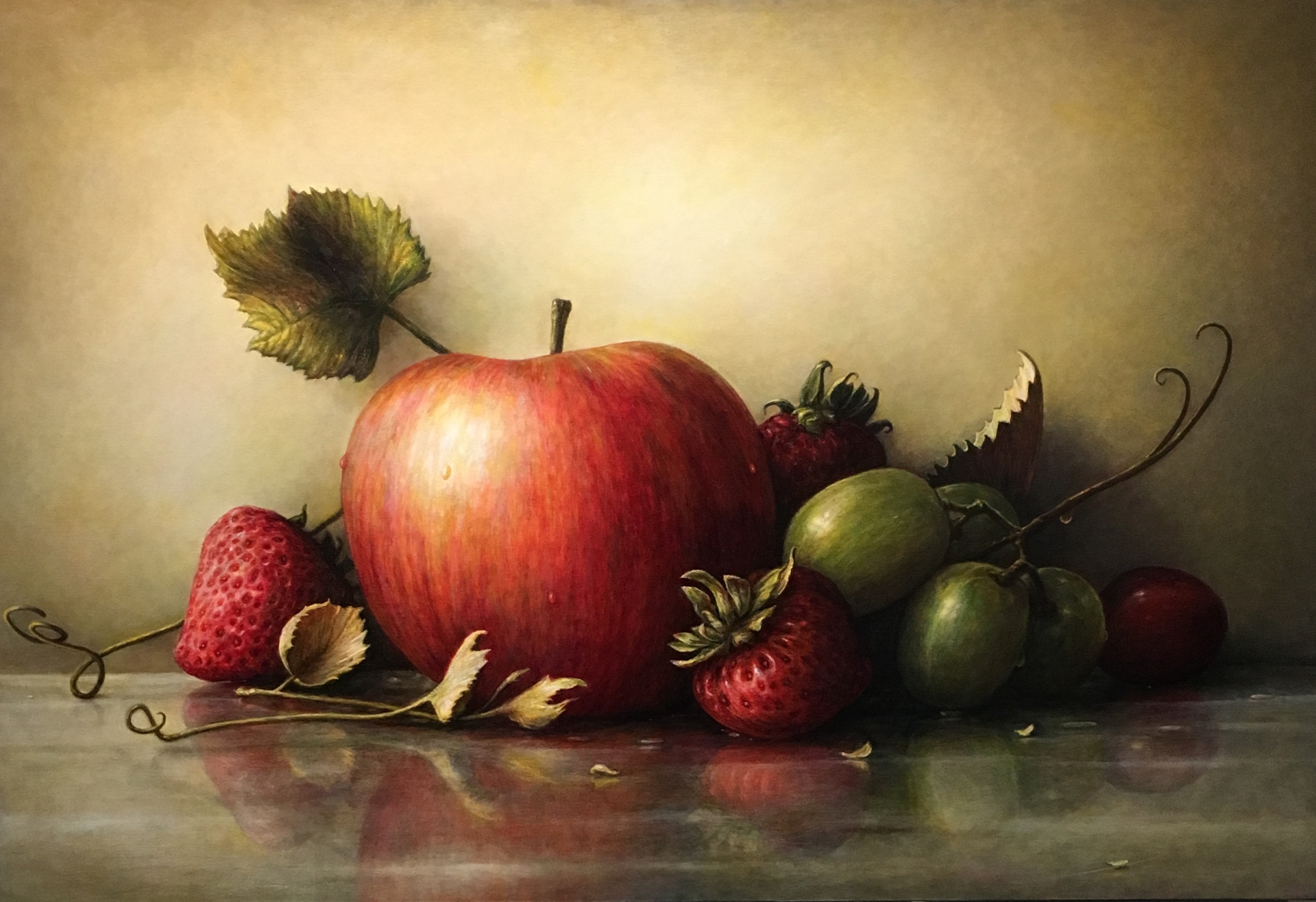 apple with grapes and strawberries by James DelGrosso