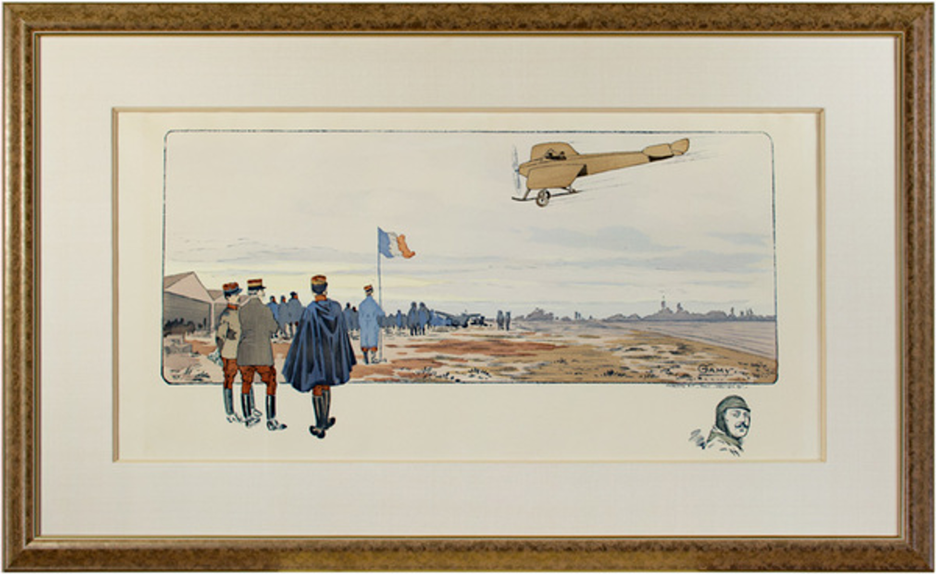 French Air Show With Remarque of Head of Pilot by Marguerite Montaut (GAMY)