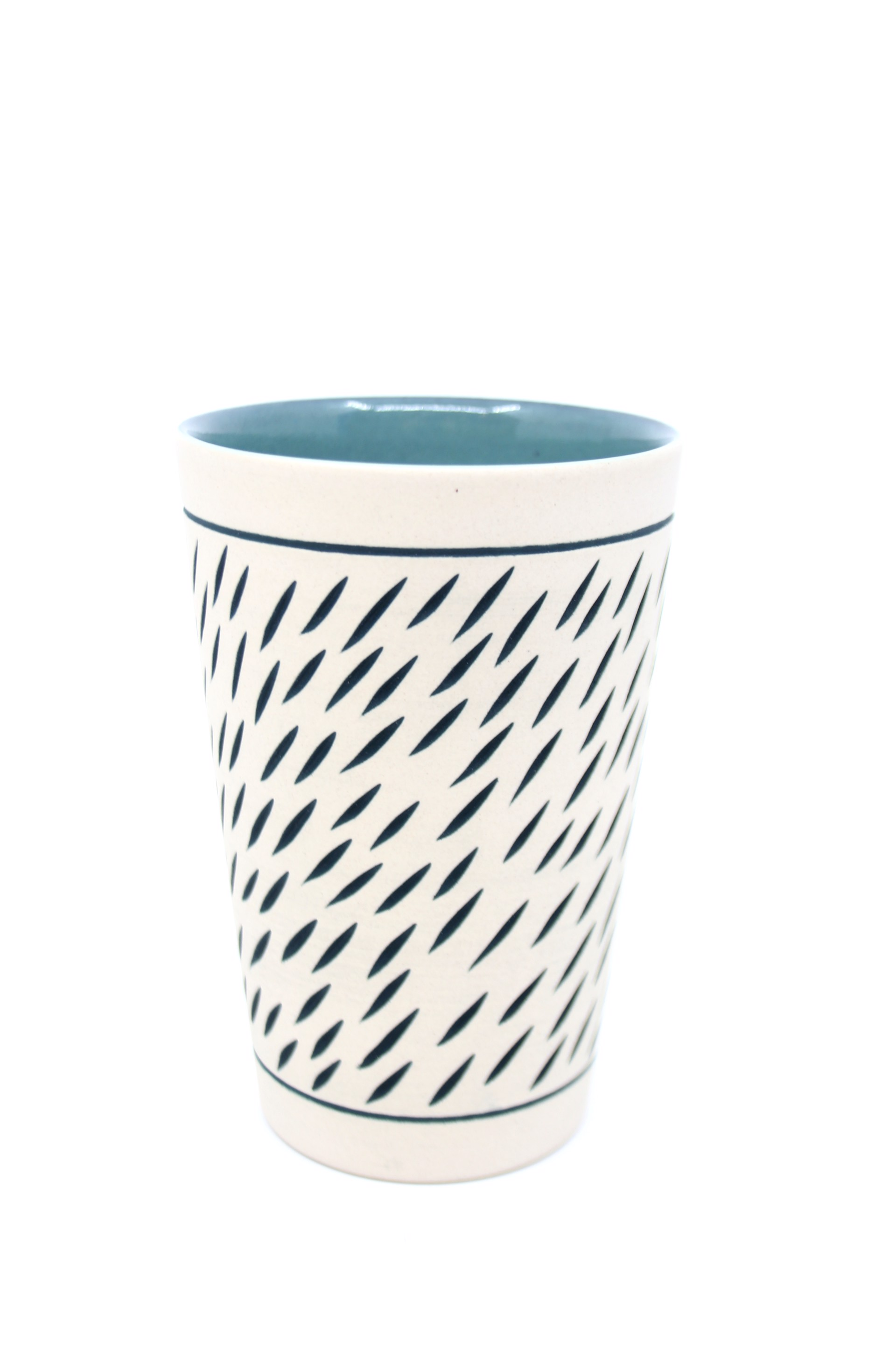 Turquoise/White Tall Cup by Chris Casey