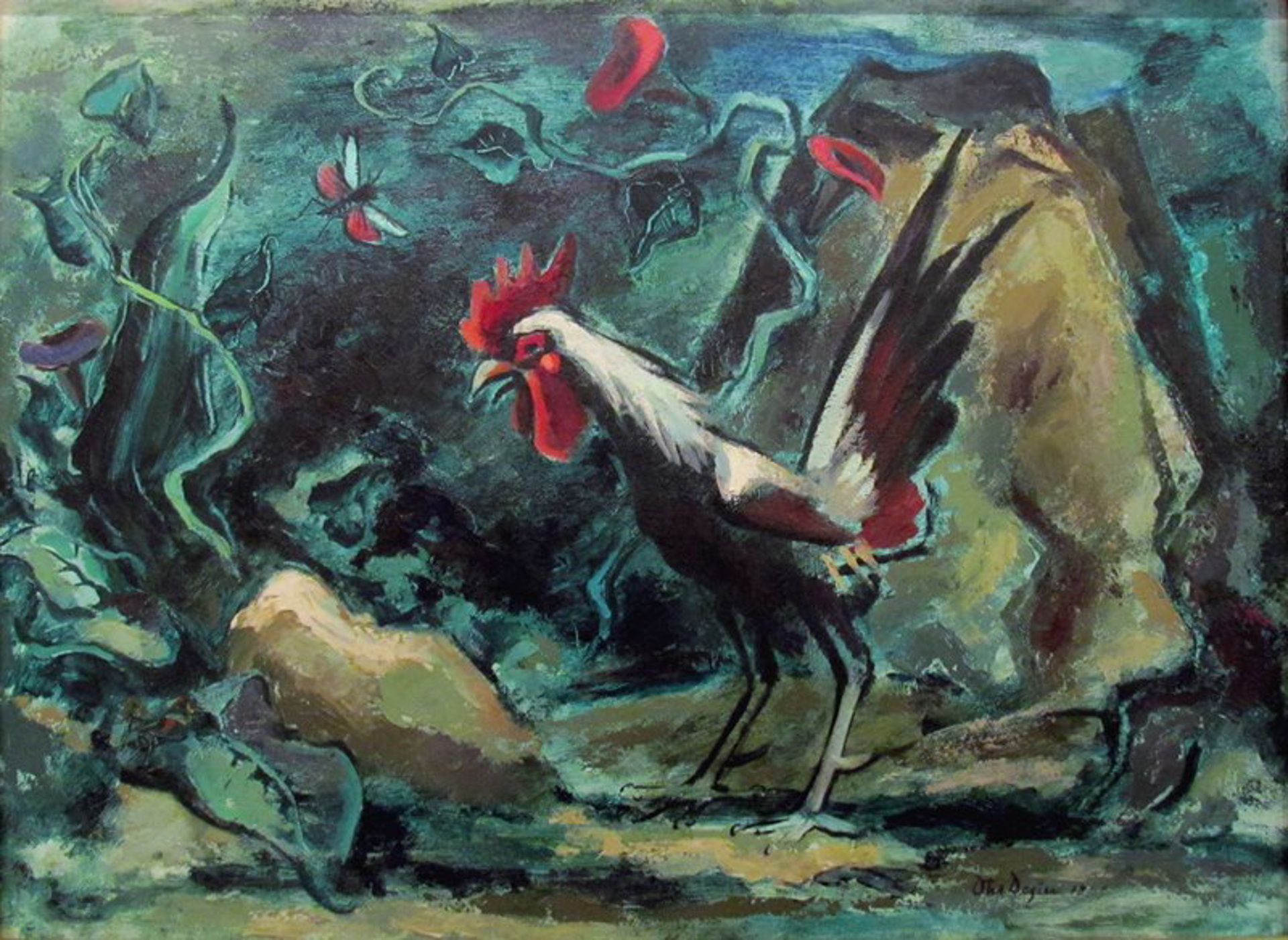 Rooster and Grasshopper by Otis Dozier