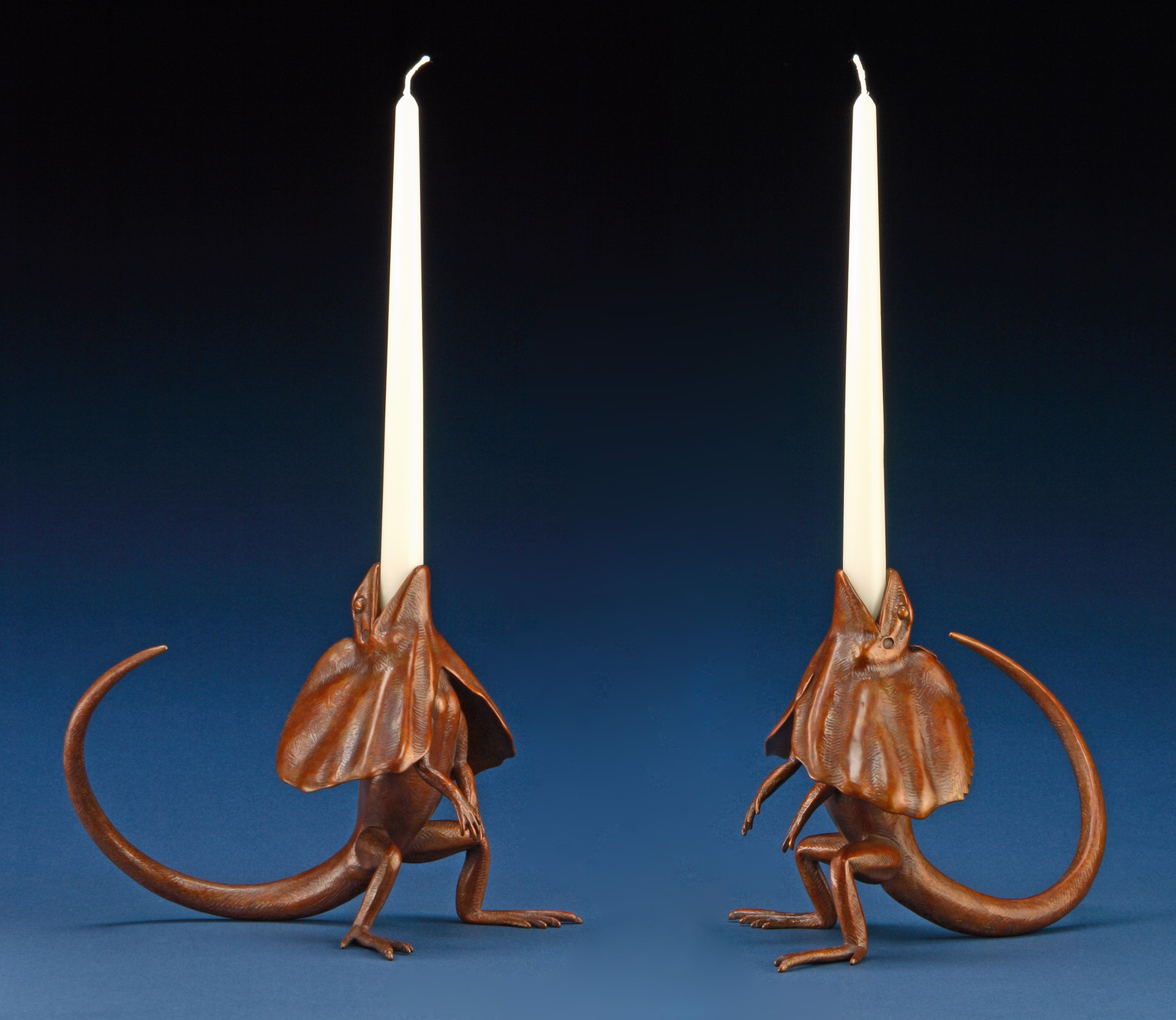 Frilled Lizard Candle Holders by Tony Hochstetler