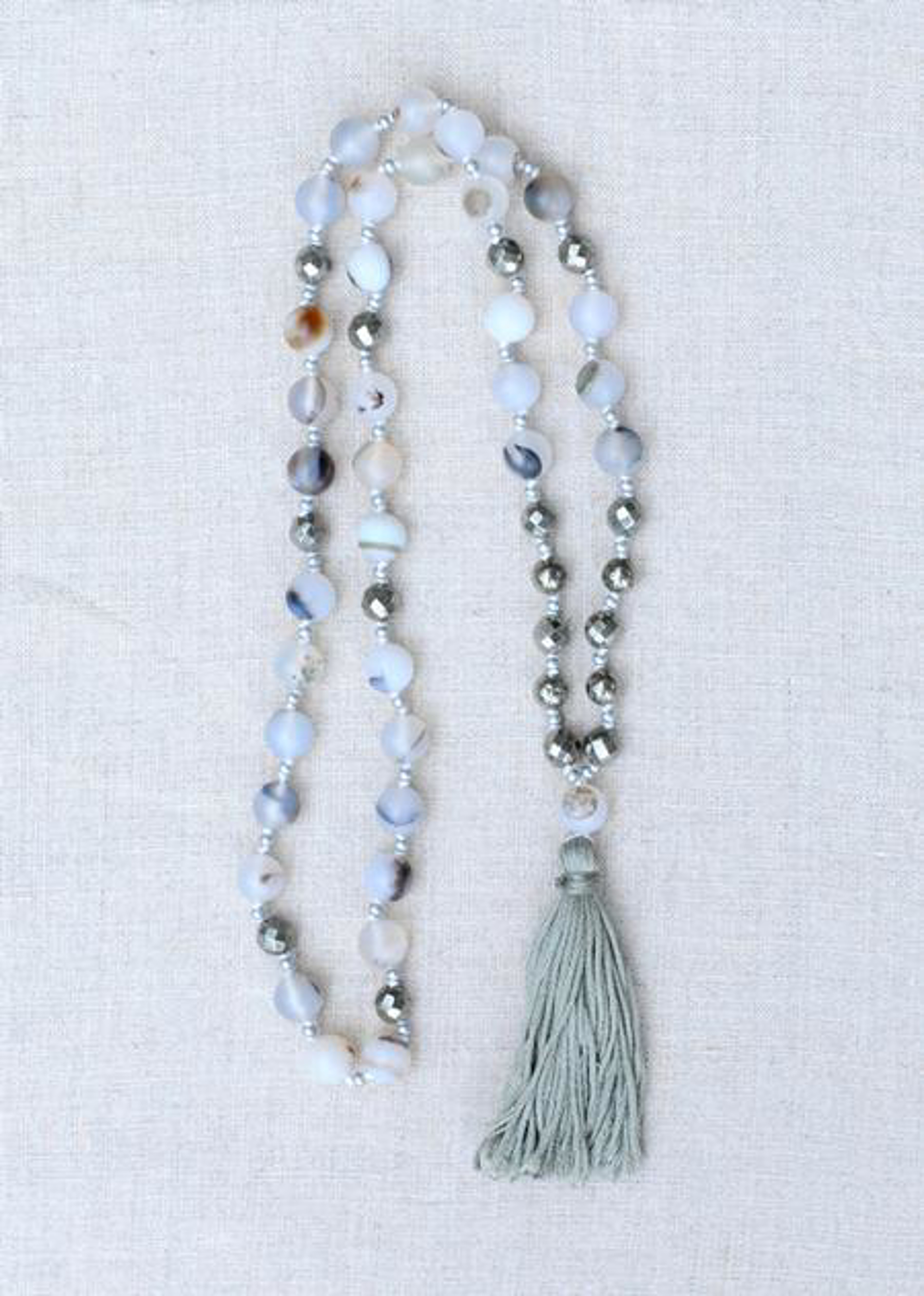 Montana Agate & Pyrite Tassel Necklace by Sam Taylor