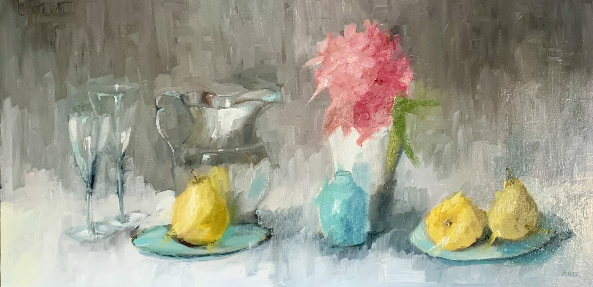 Pears and Pink Flower by Yvonne Mendez