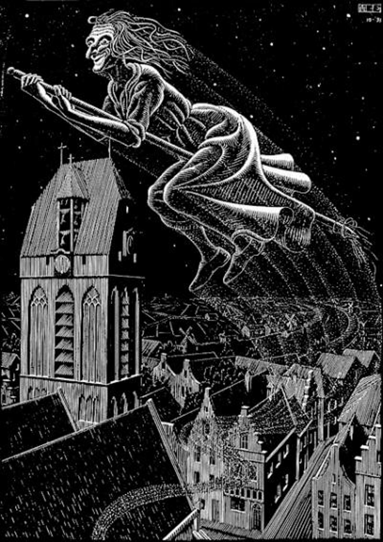 Scholastica (Flying Witch) by M.C. Escher