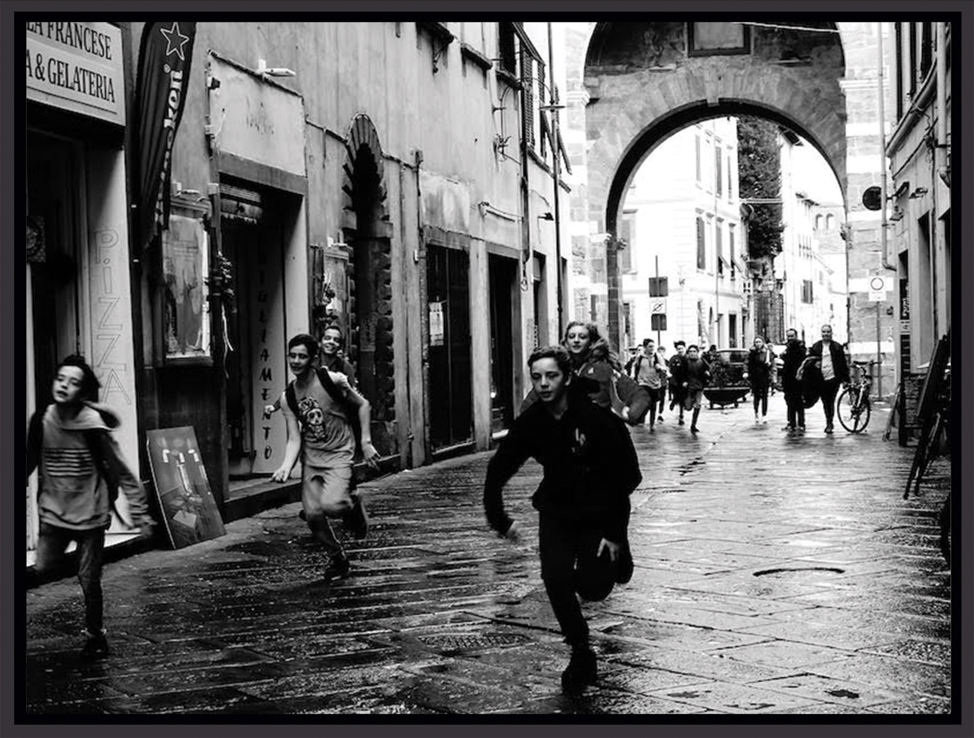 Running on a Wet Afternoon, Lucca  by Stacy Widelitz