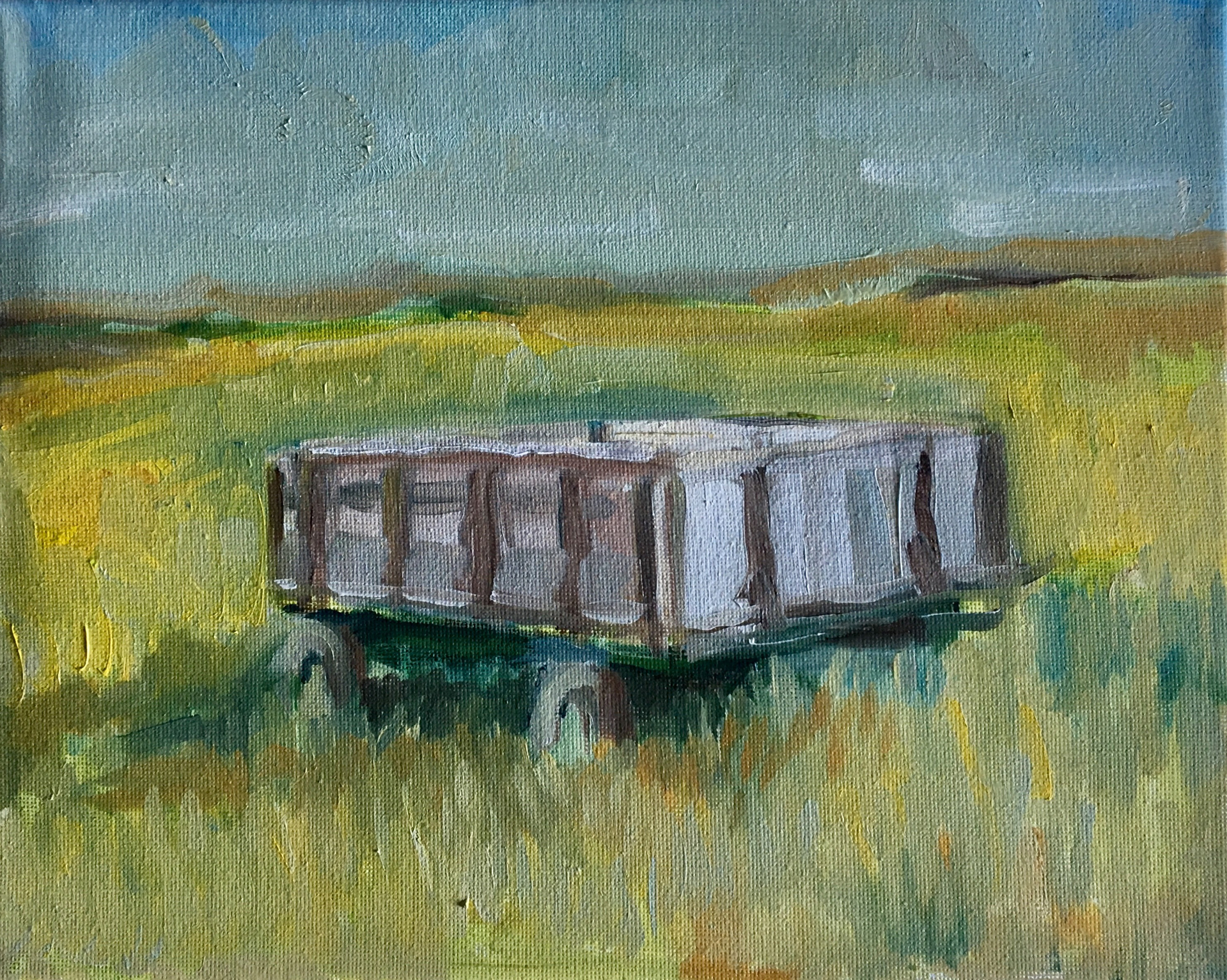 Old Grey Feed Wagon on the Bottom by Cassia Kite