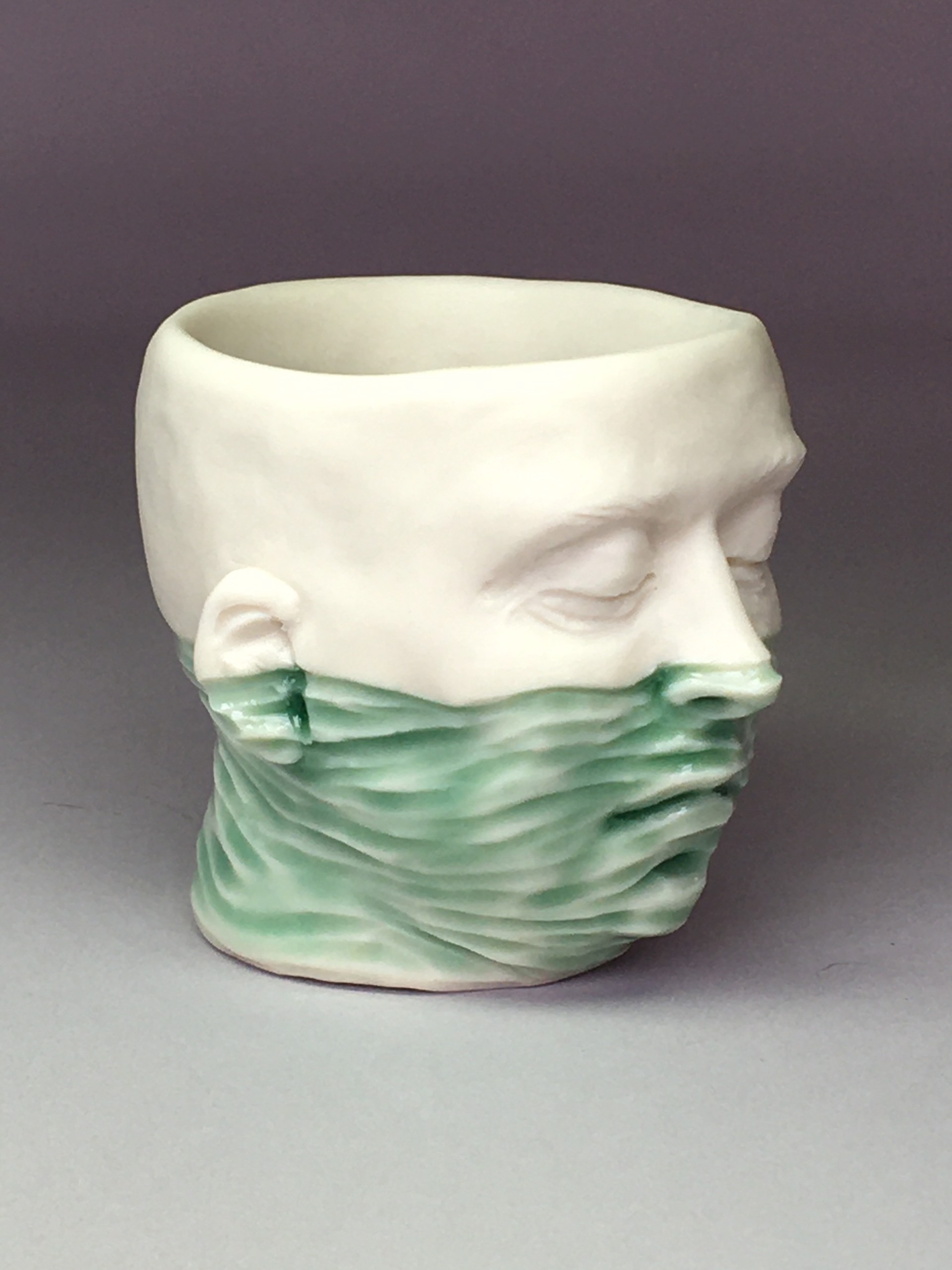 """Water Level Shot Glass II"" (light green and dark teal blue interior) by Adrian Arleo"