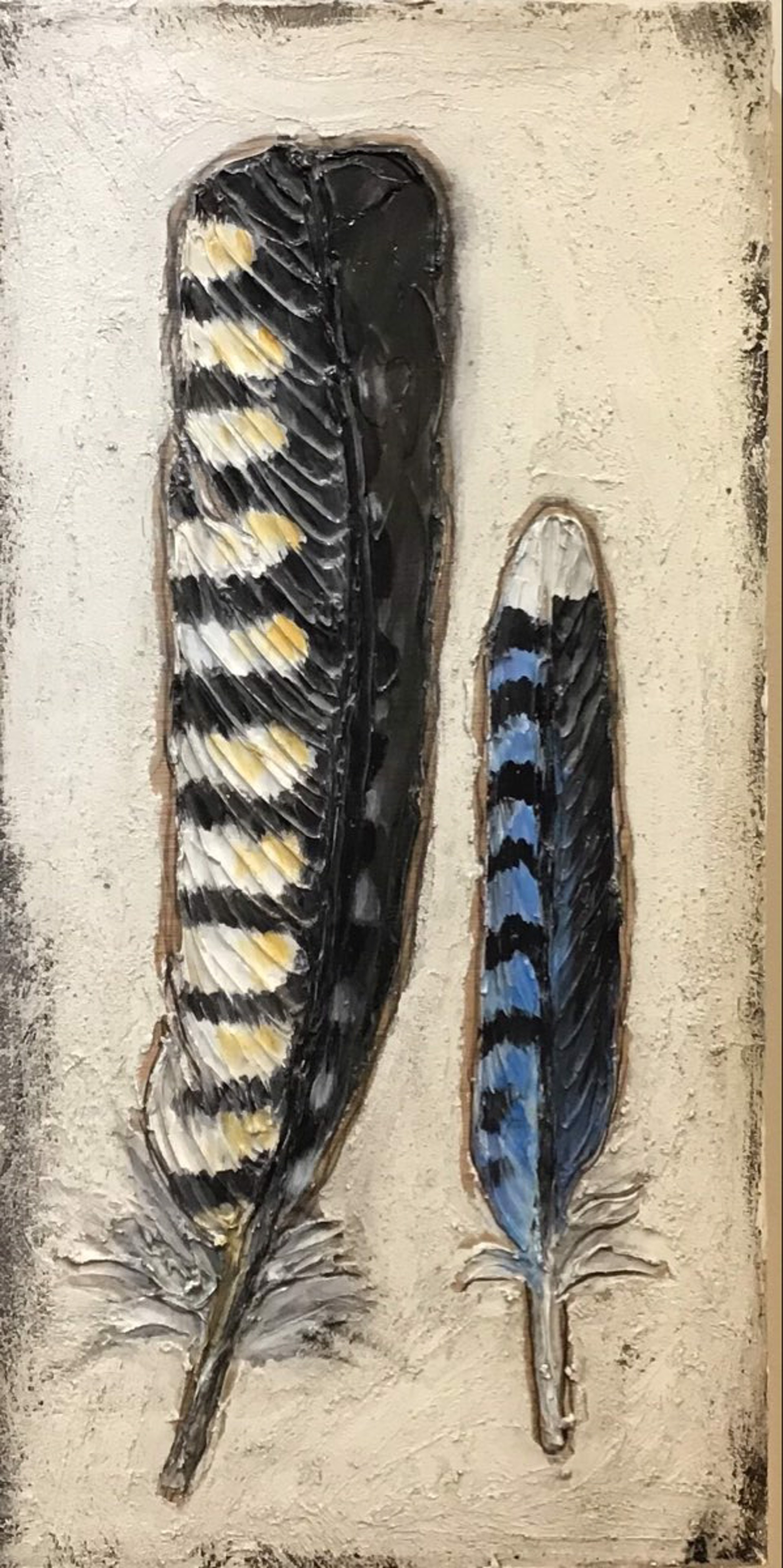Blue Jay & Woodpecker Feathers by Sherry Cook