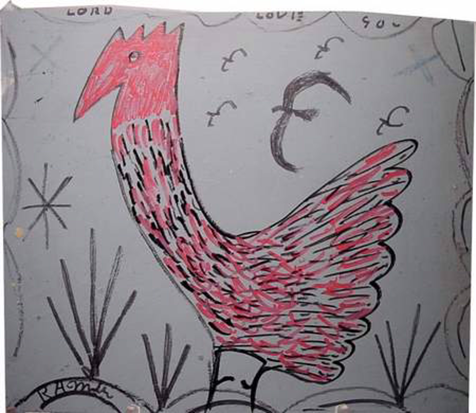 Red-headed Rooster with Bird by R.A. Miller