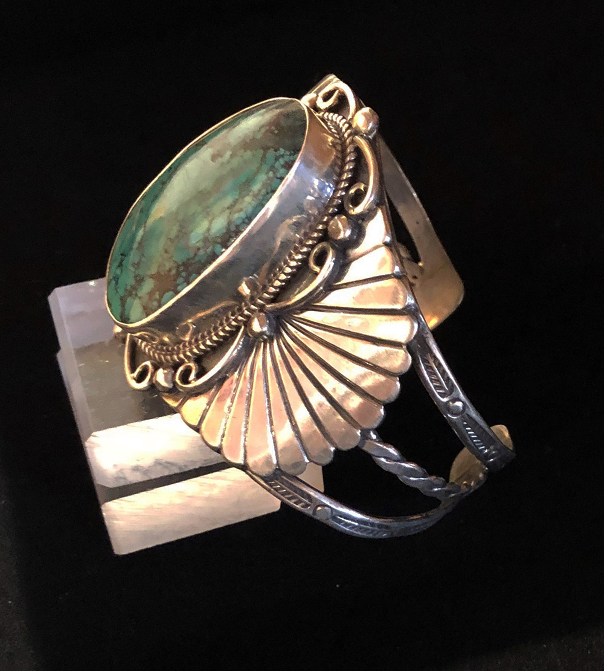 Signed Sterling Silver Turquoise Cuff Bracelet 71g