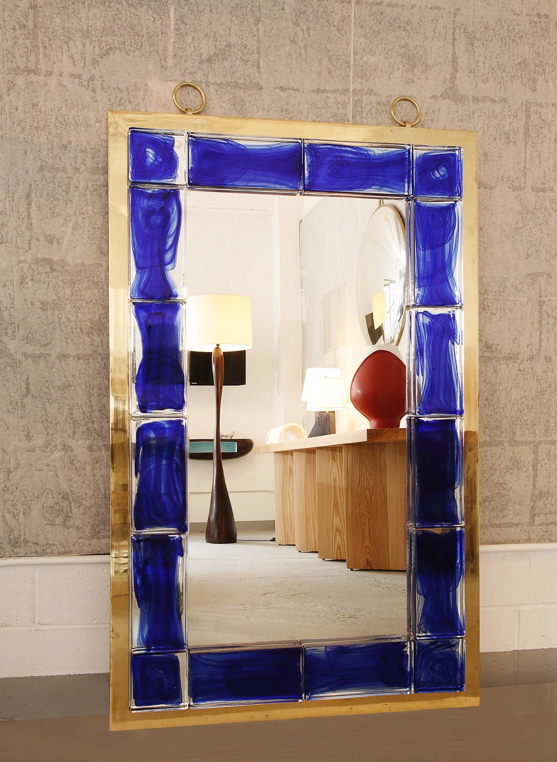 Blue tiled mirror by Andre Hayat