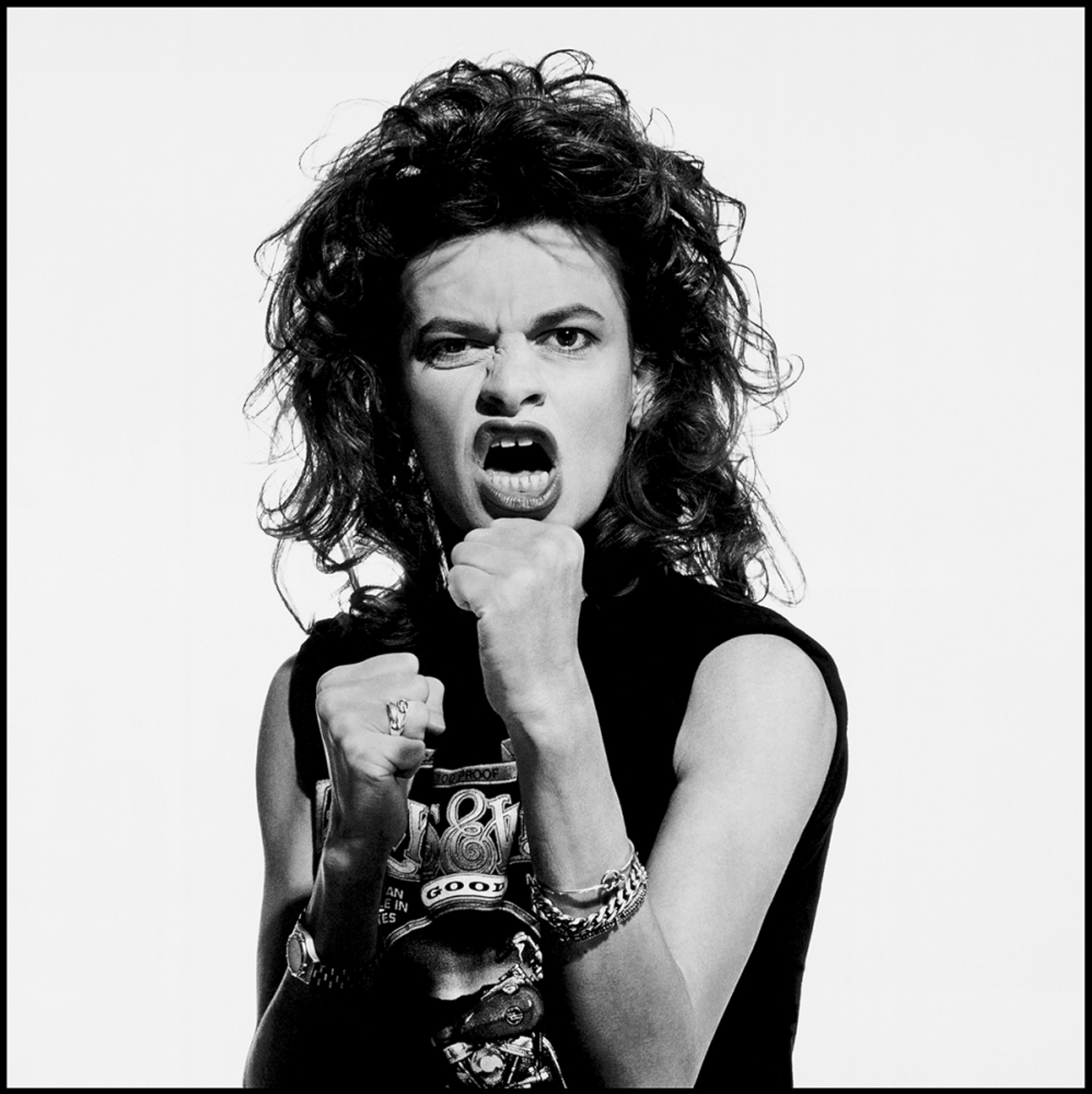88161 Sandra Bernhard Hands Up BW by Timothy White