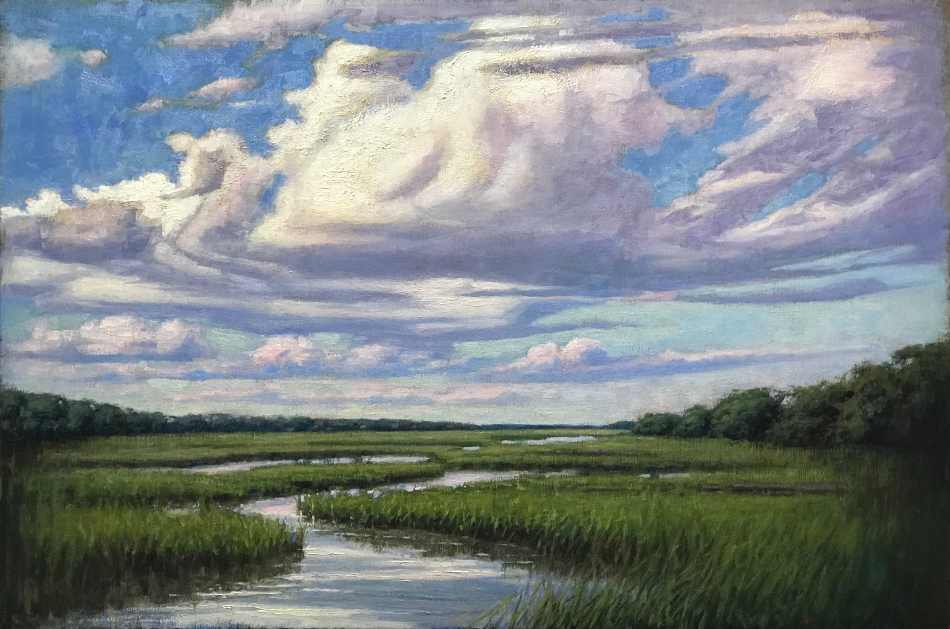 Green Marsh on a Cloudy Day by Brett Weaver