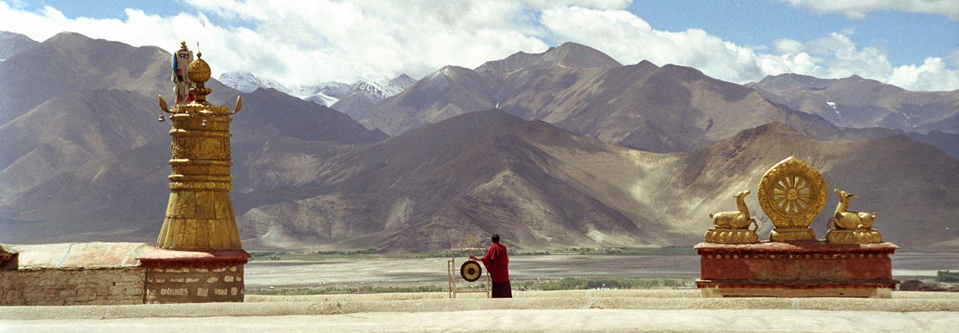 Monk On Rooftop, Lhasa, Tibet by Cora Edmonds