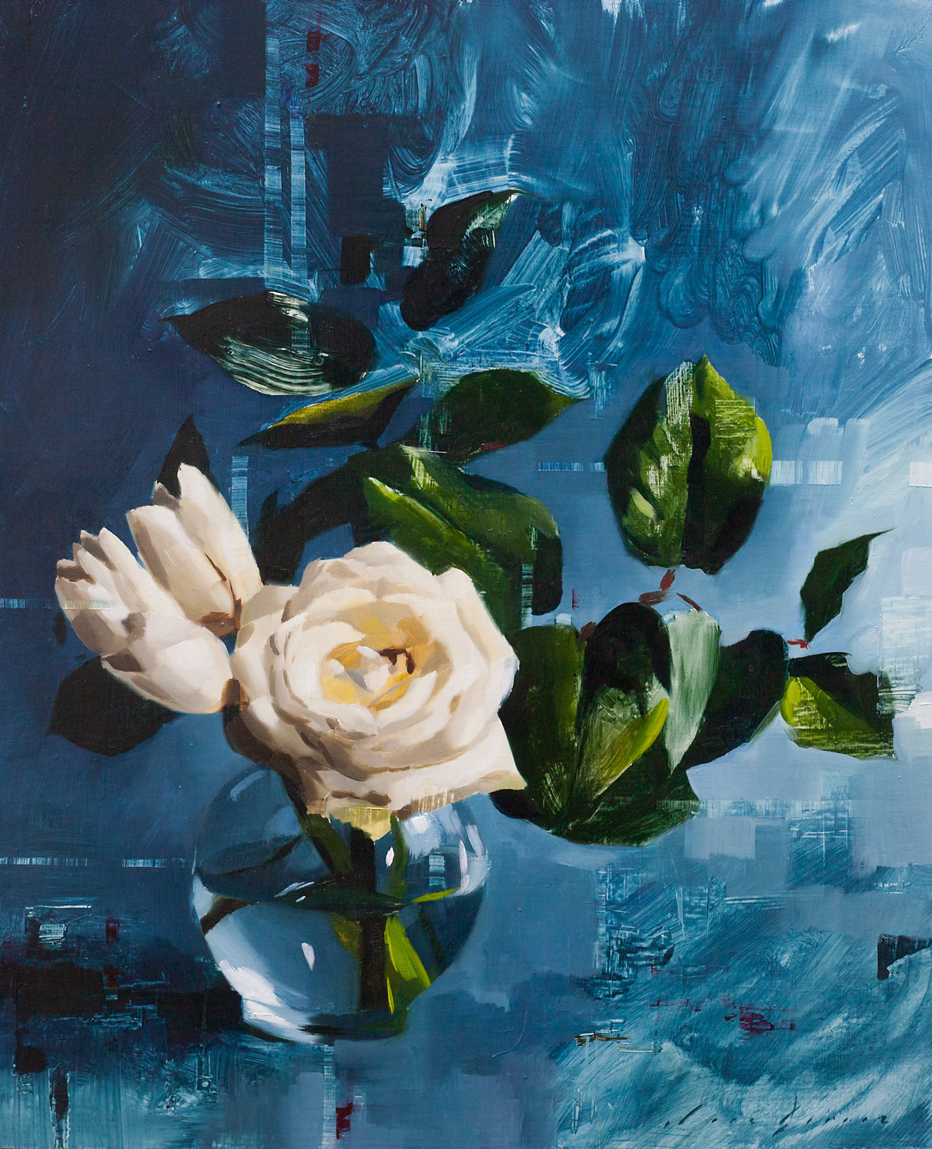 Tulips and Rose on Blue by Jon Doran