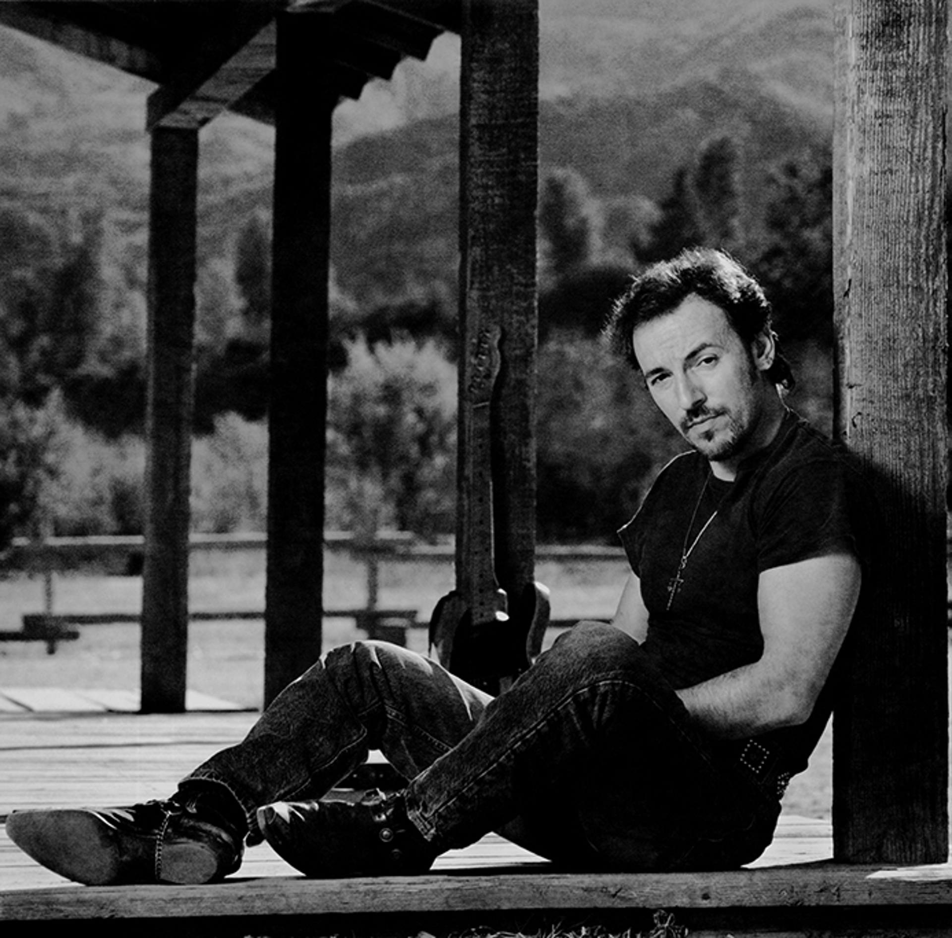 91152 Bruce Springsteen Porch F13 BW by Timothy White