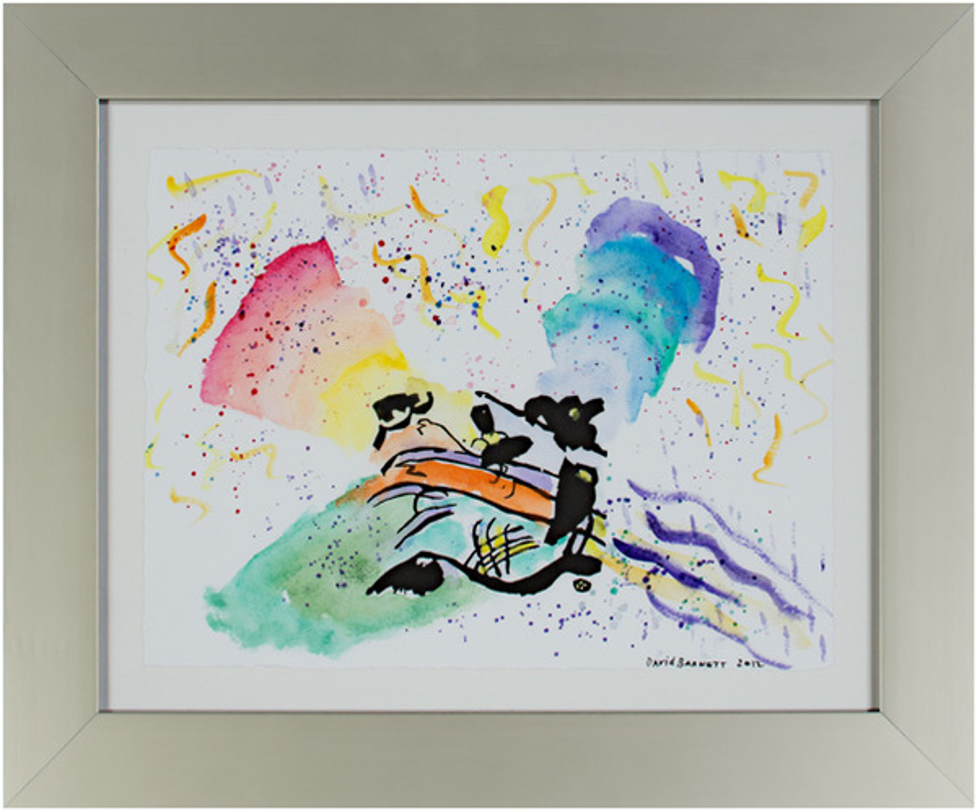 """Famous Artist Series: Homage to Wassily Kandinsky after 1911 """"Exit"""" woodcut from Klange (Sounds) Ser. by David Barnett"""