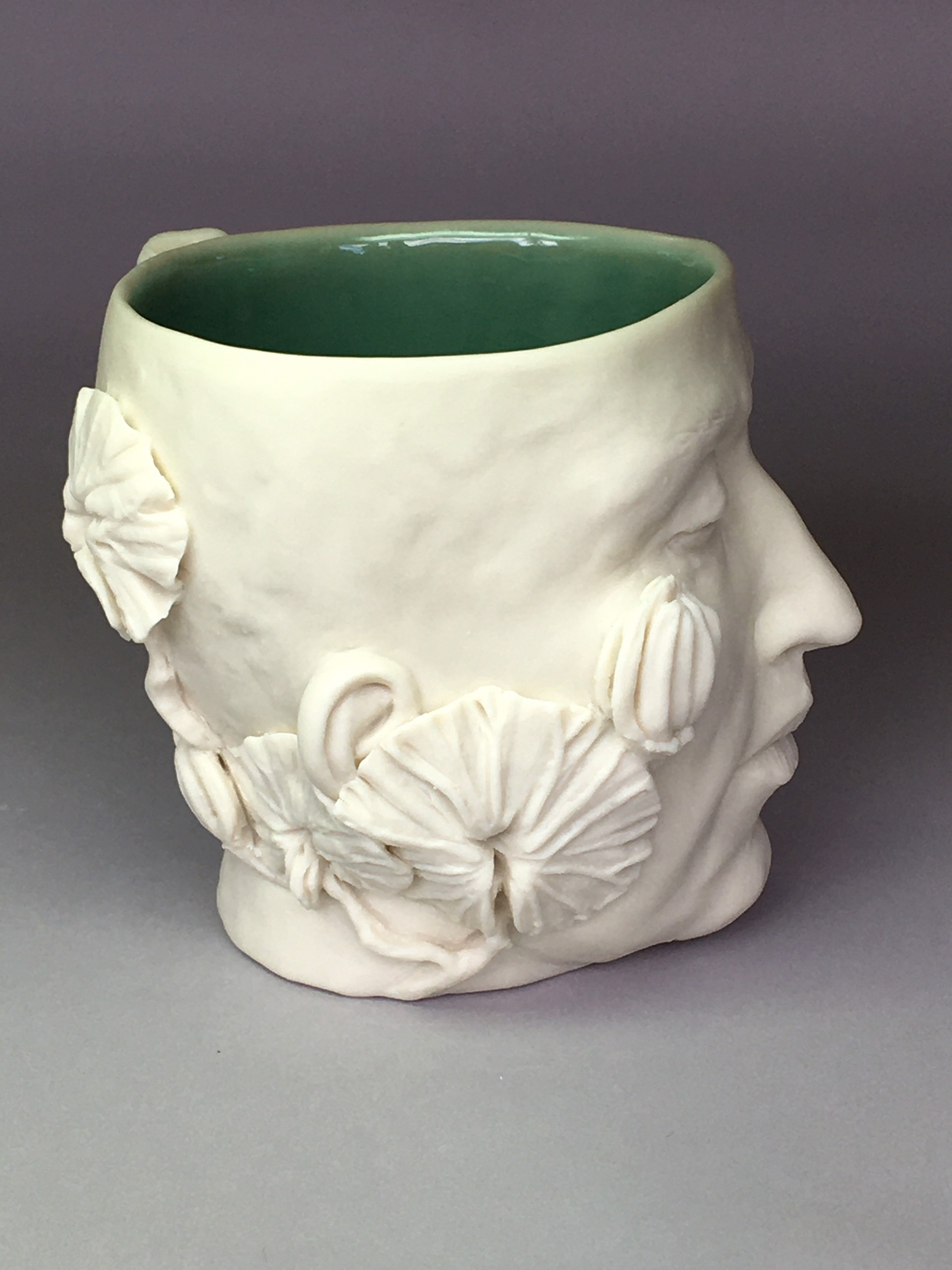 """""""Flora Cup IV"""" (multi leaves and buds, leaf handle, eyes closed) 2020 by Adrian Arleo"""