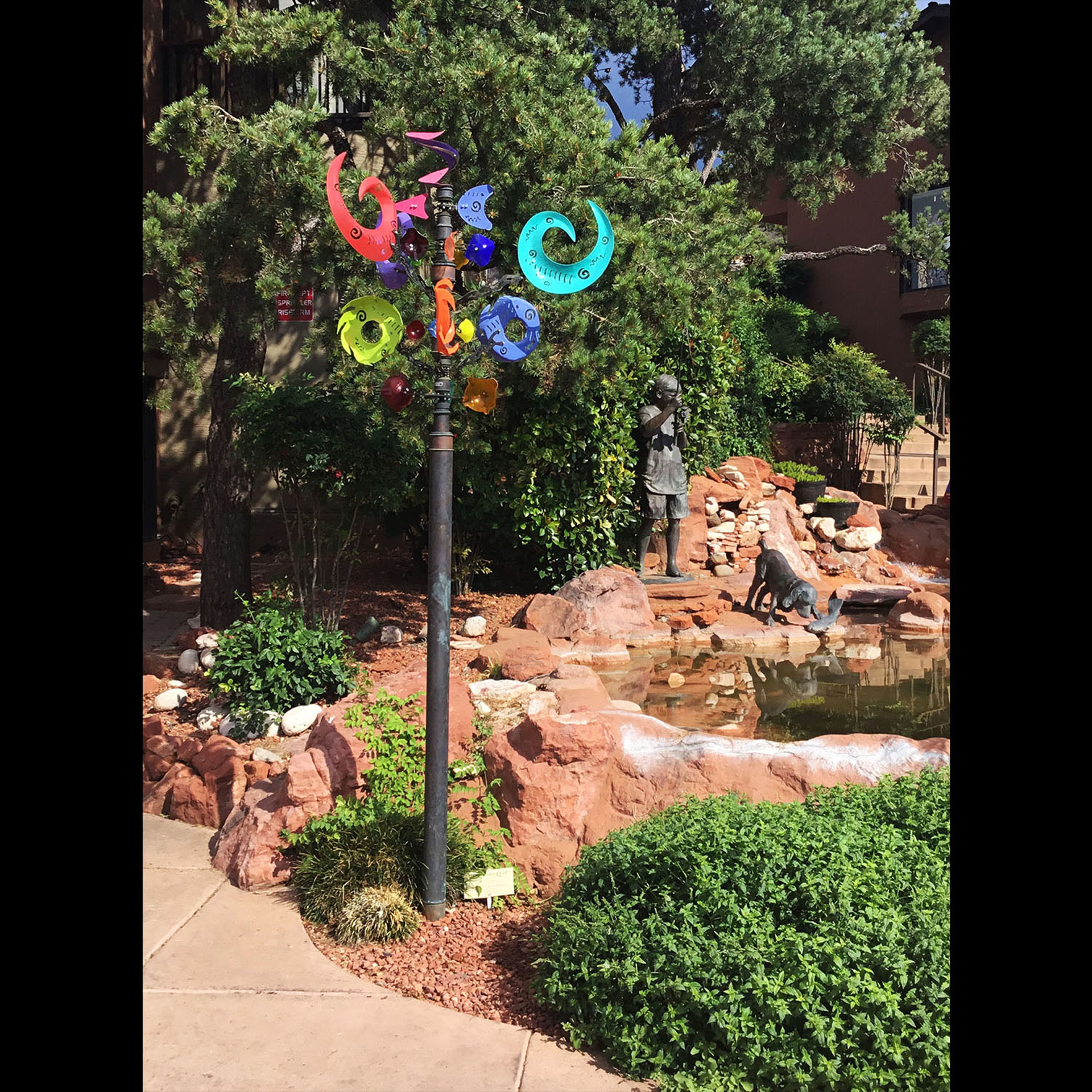 Display Crazy Color Swirl with Metal Pole by Andrew Carson