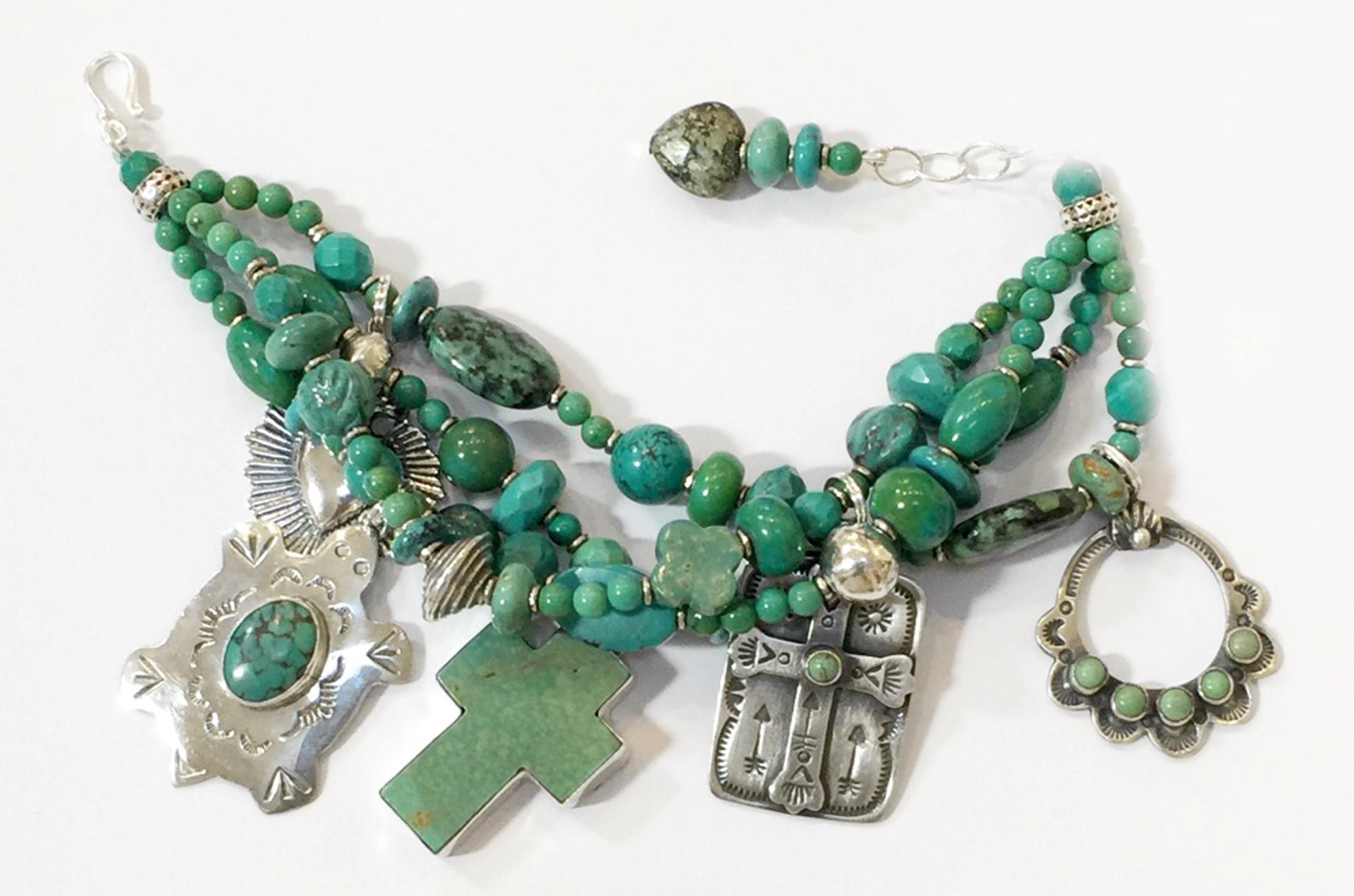 KY 1336 - Four Strand Turquoise Charm Bracelet by Kim Yubeta