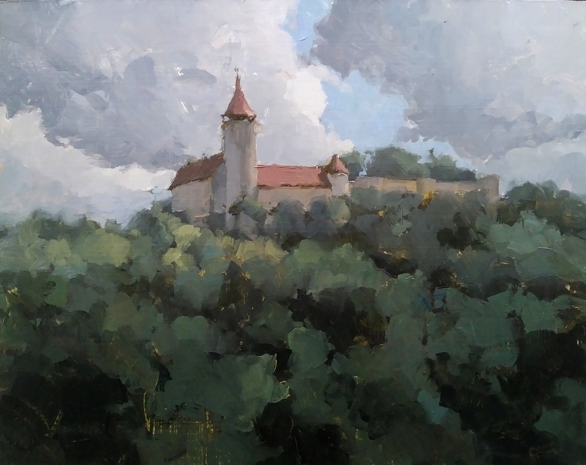 Teck Castle, Germany (plein air) by James Kroner