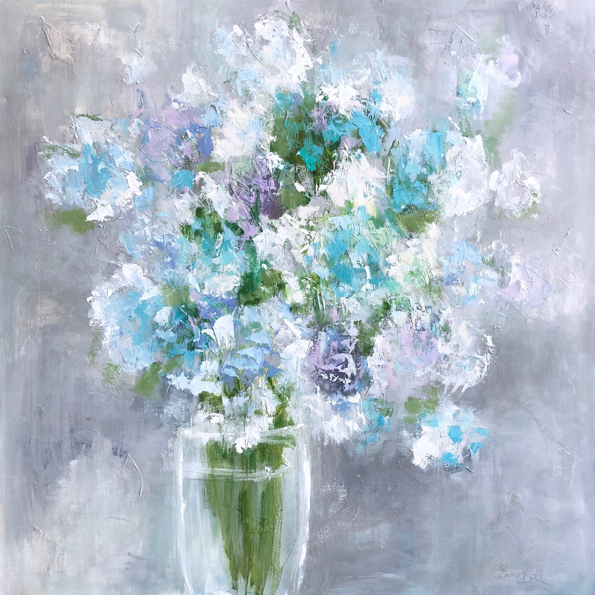 Aqua Blue Hydrangeas by Emma Bell
