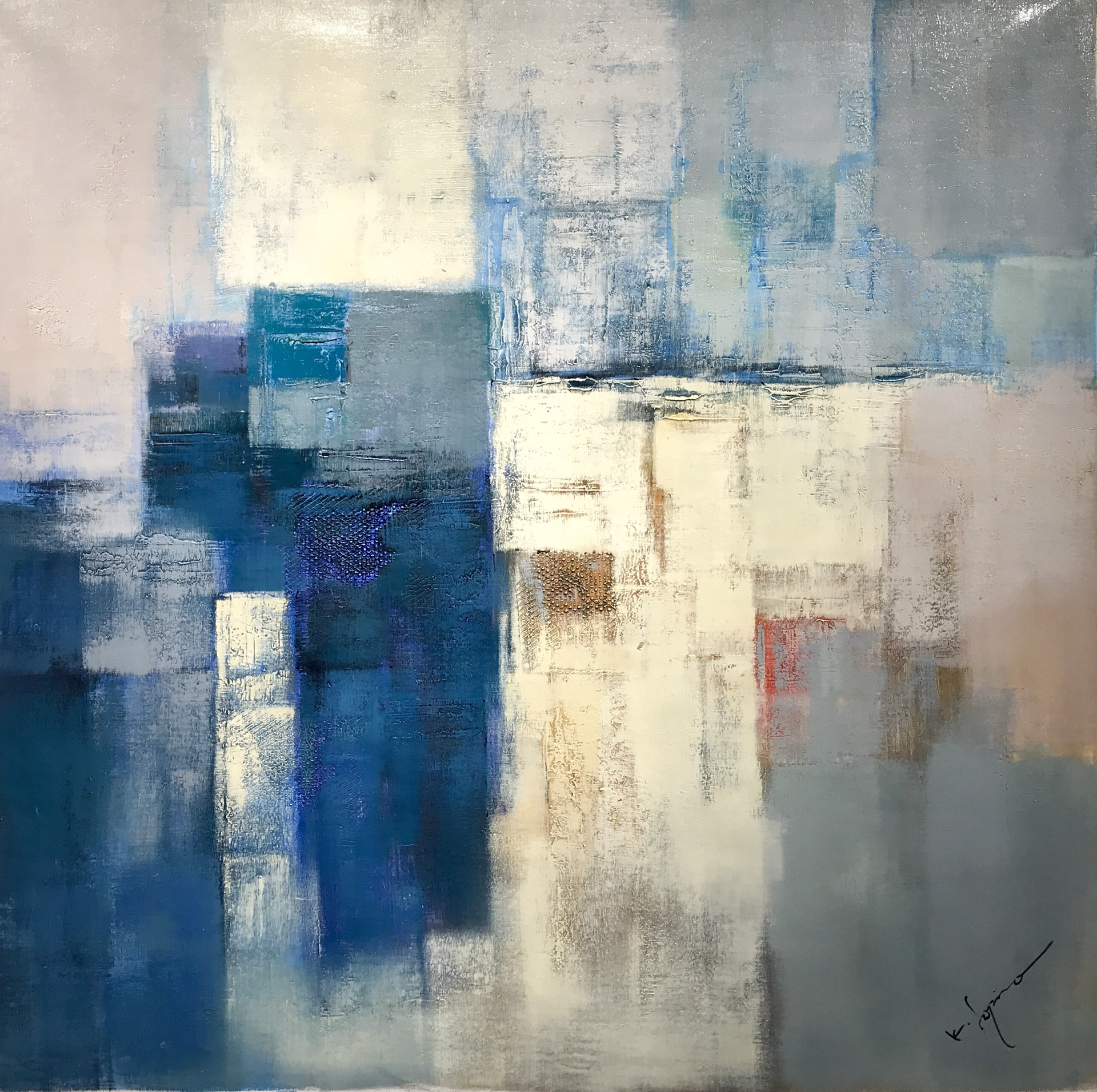ABS. GEOMETRIC CREAMS AND BLUES by K. SOPINO