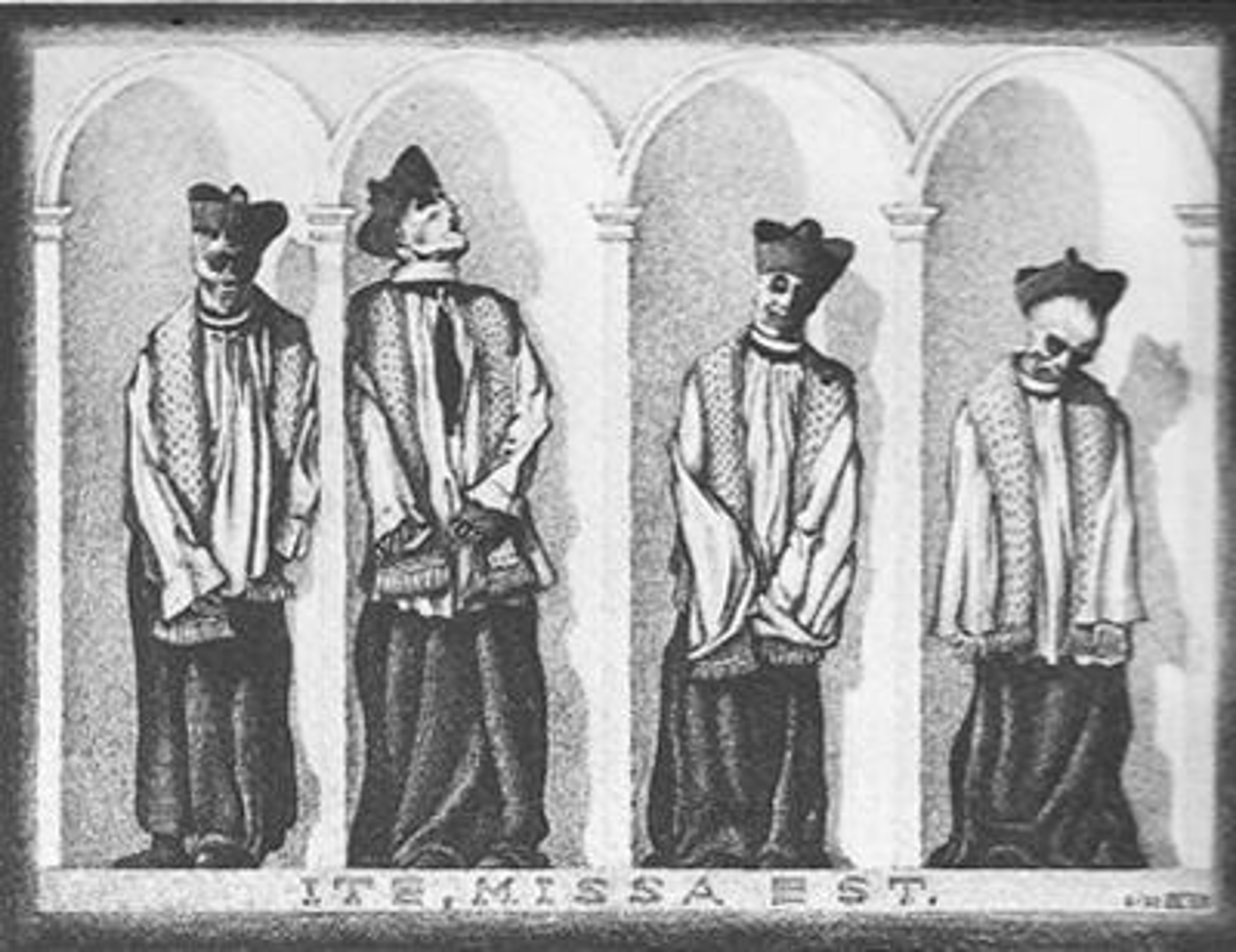 Mummified Priests in Gangi, Sicily by M.C. Escher