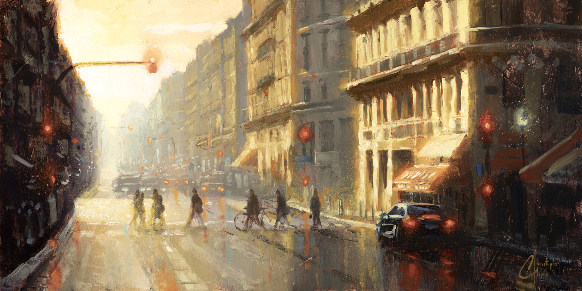 Paris - Crossing the Street by Christopher Clark