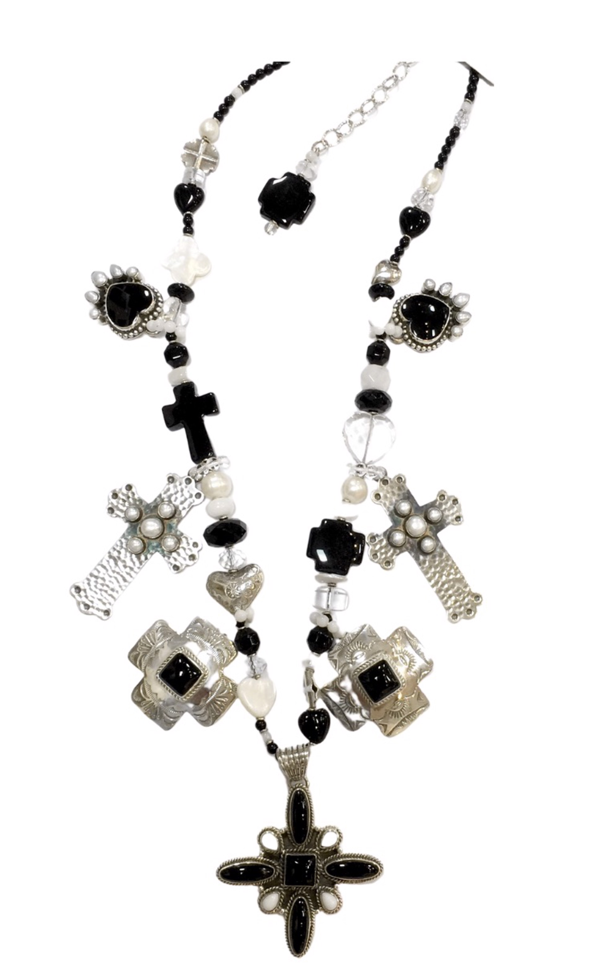 KY 1353C - Single Strand Cross & Heart Necklace, Black Onyx,Rock Crystal With Sterling Silver by Kim Yubeta
