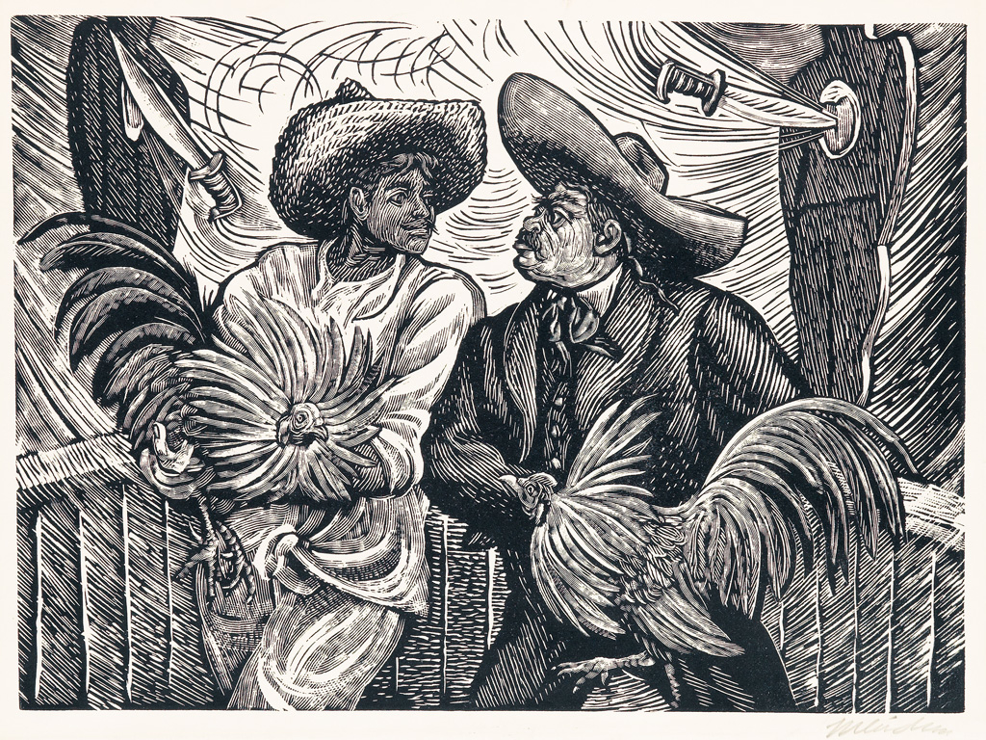 Dos Galleros by Leopoldo Méndez (1902 - 1969)