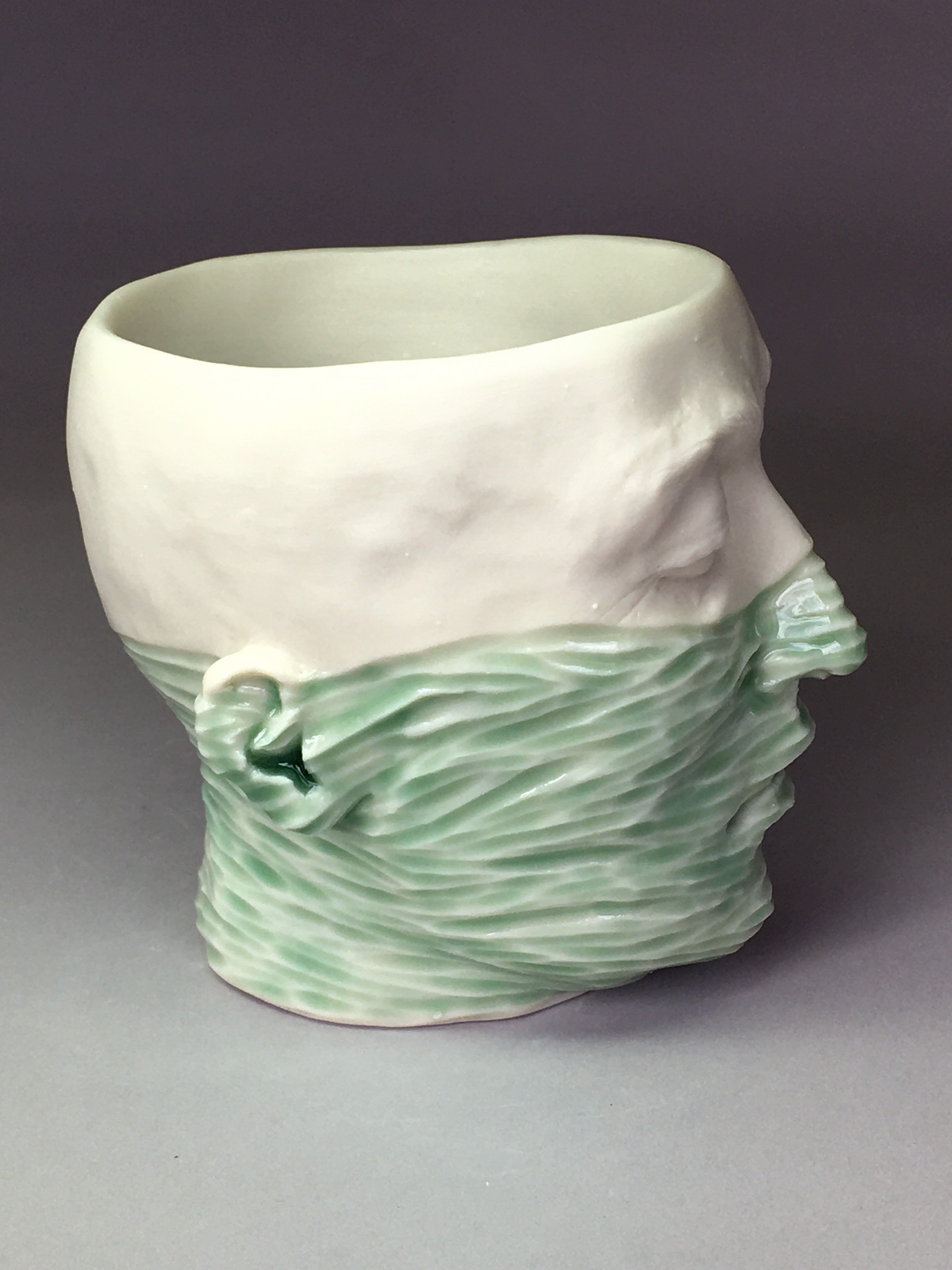 """""""Water Level Cup II"""" (light green celadon, deep teal blue interior) by Adrian Arleo"""