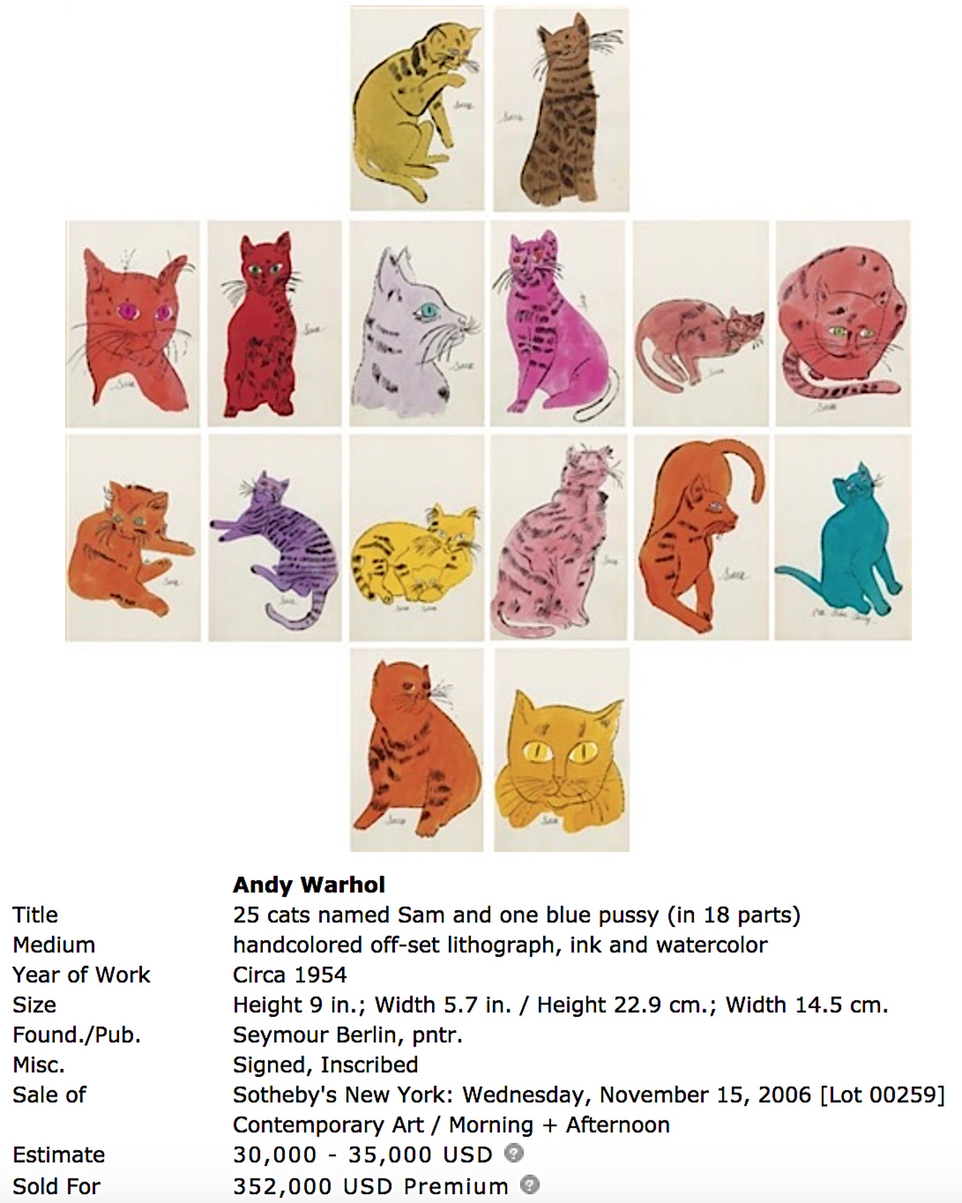 25 Cats Name(d) Sam and One Blue Pussy (complete intact book of watercolors) by Andy Warhol
