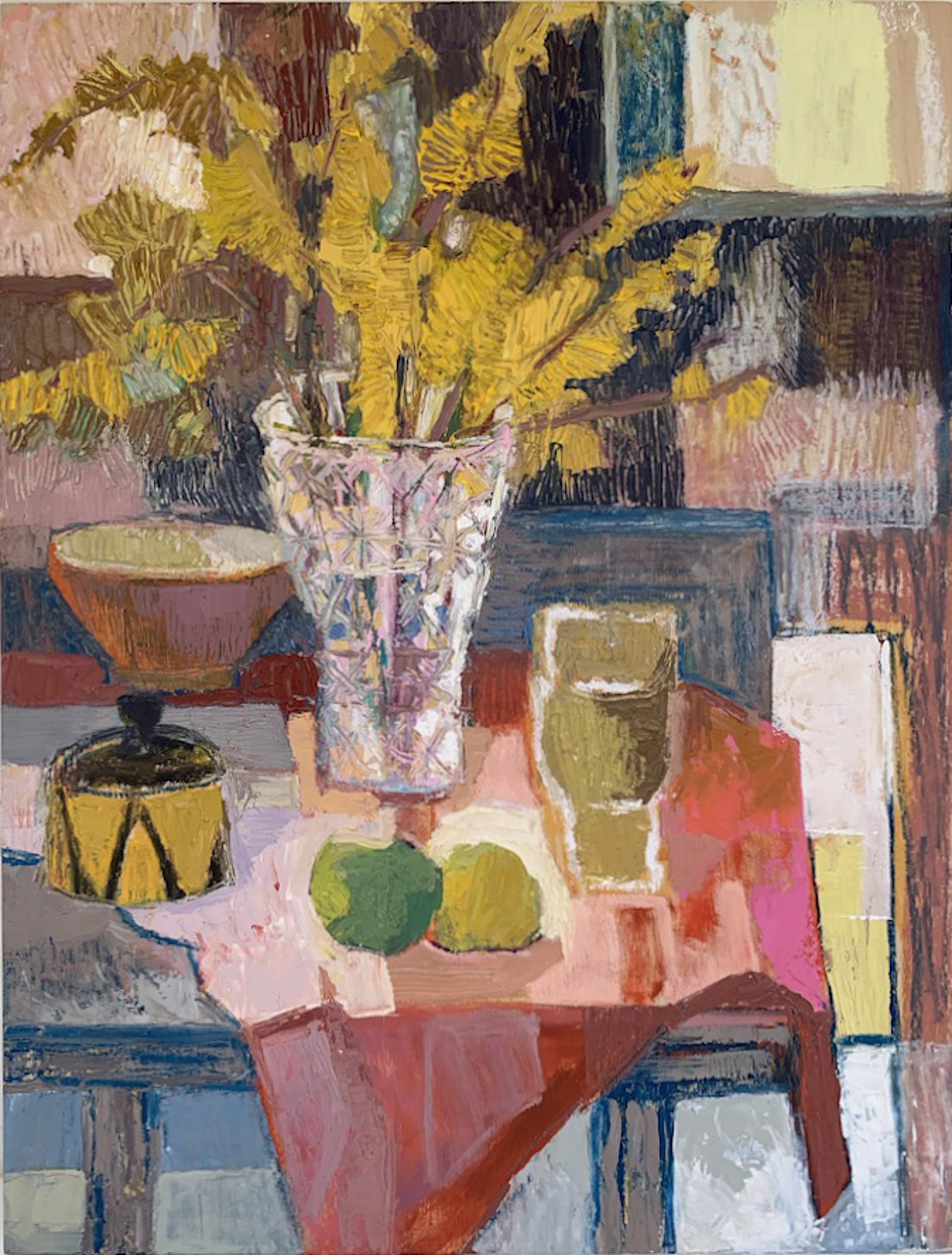 Forsythia in Crystal Vase by Maggie Shepherd