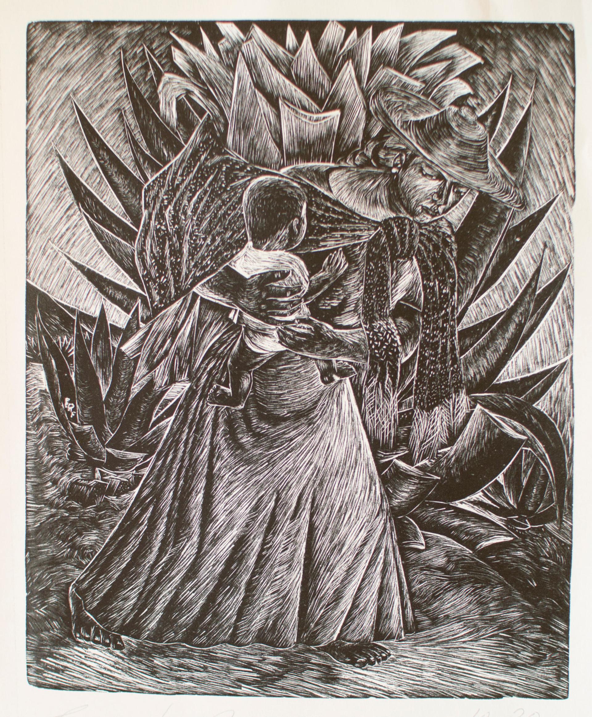 Campesina con Niño y Maguey by Everardo Ramírez (1906 - 1992)