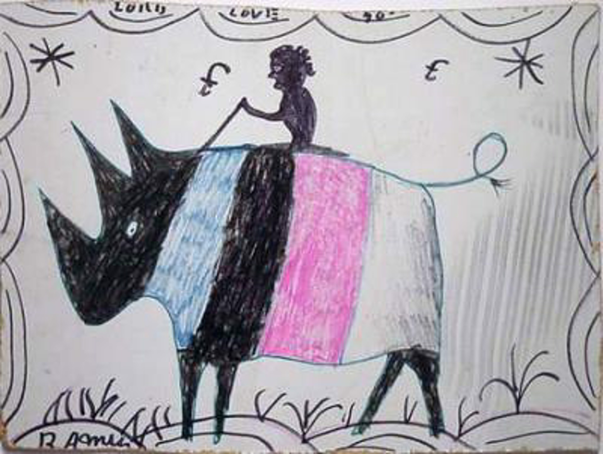 Lady on Pink Rhino by R.A. Miller