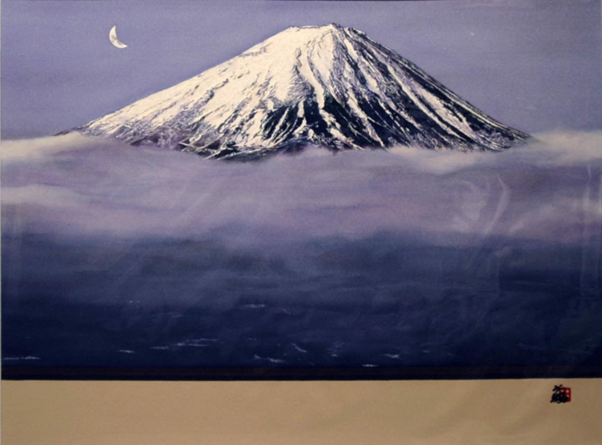 Crescent Moon Over Mt. Fuji by Hisashi Otsuka