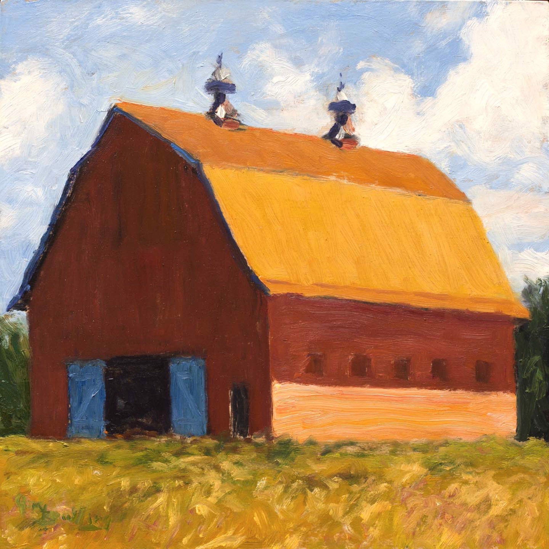 Red Barn and Blue Doors by Gary Bowling