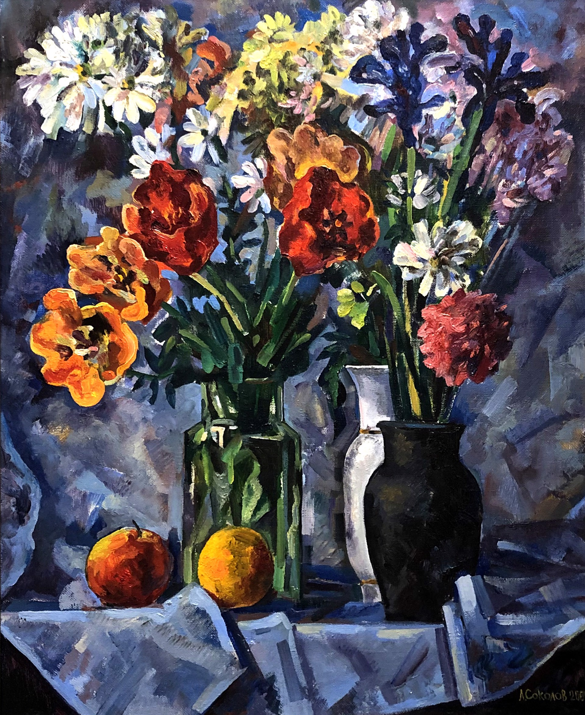 Leonid Alekseevich Sokolov - Flowers in a Vase by Russian Artists