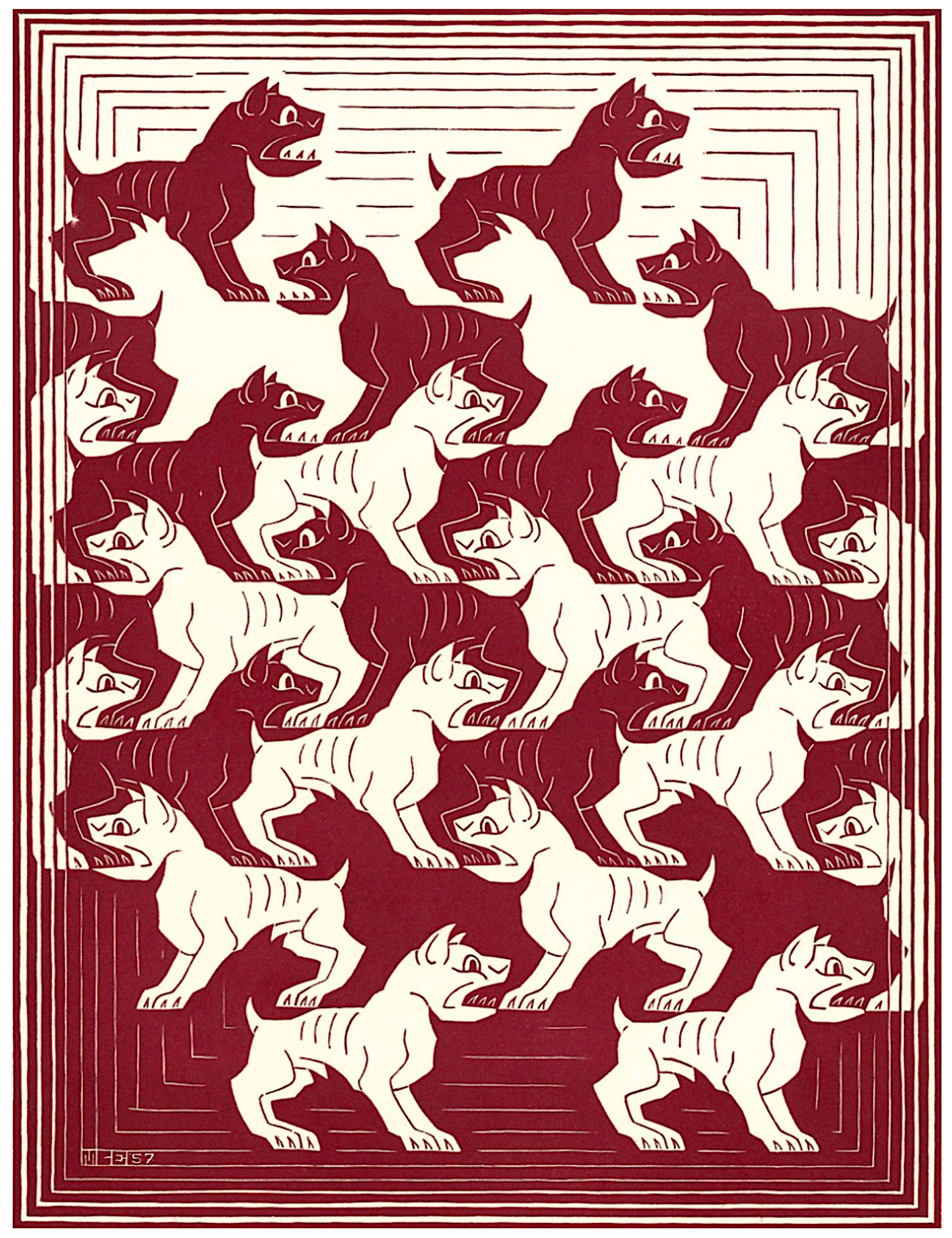 Regular Division of the Plane IV Red by M.C. Escher