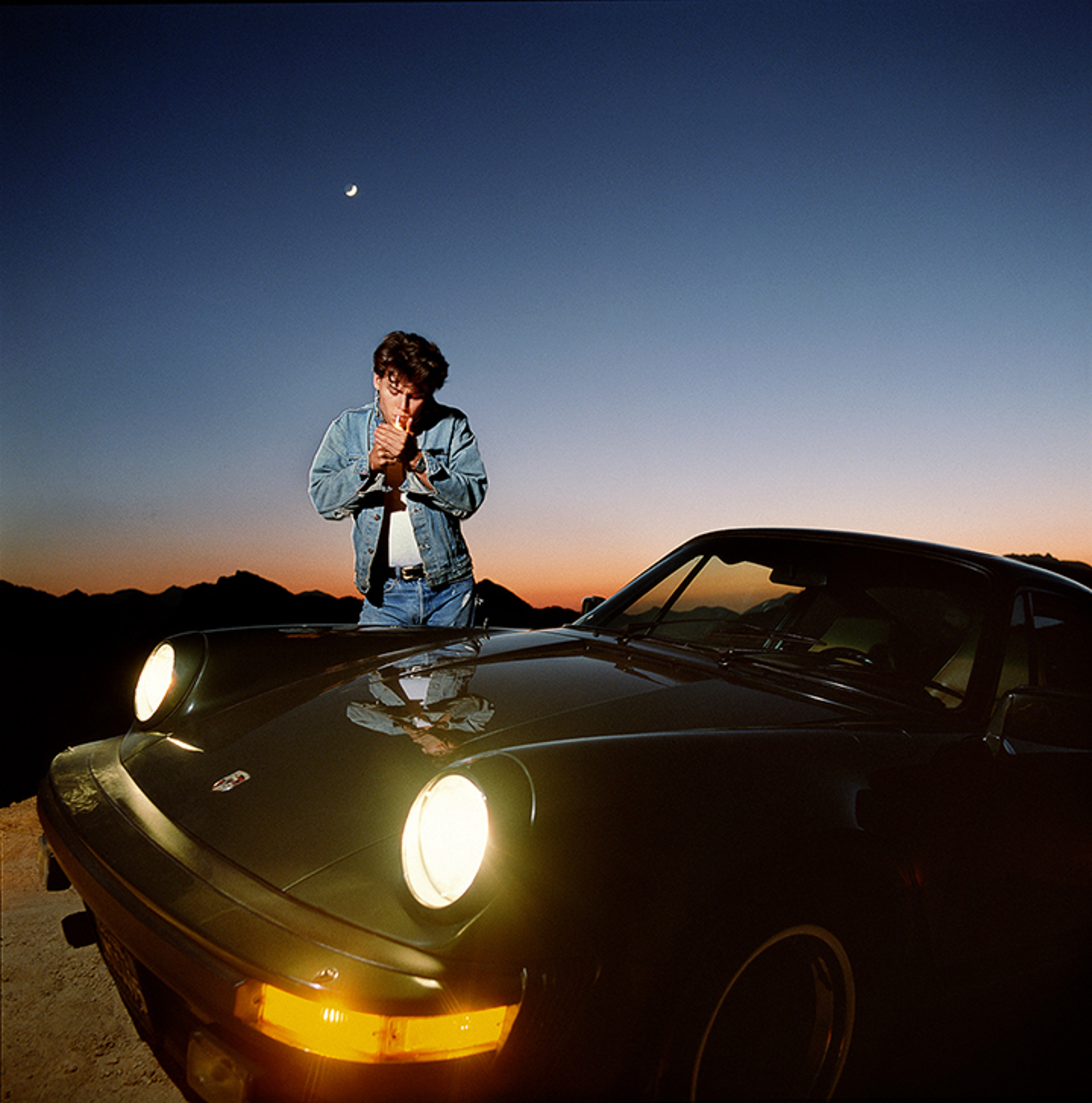87066 Johnny Depp Lighting Up Next to the Porsche Color by Timothy White