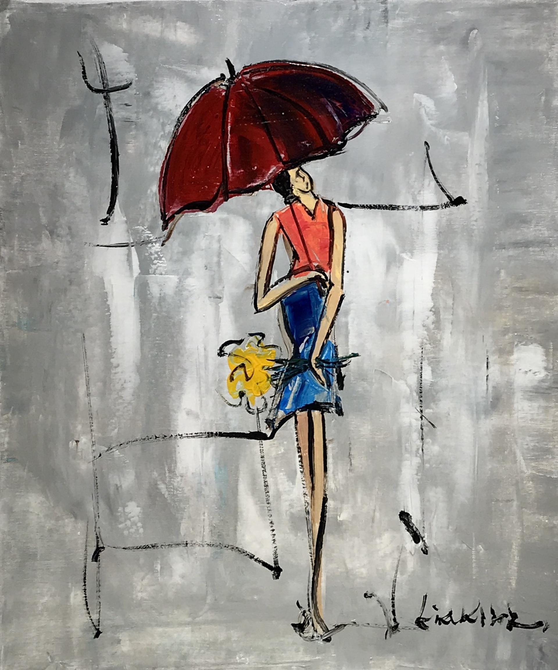 ORANGE BLOUSE  RED UMBRELLA by LIA KIM