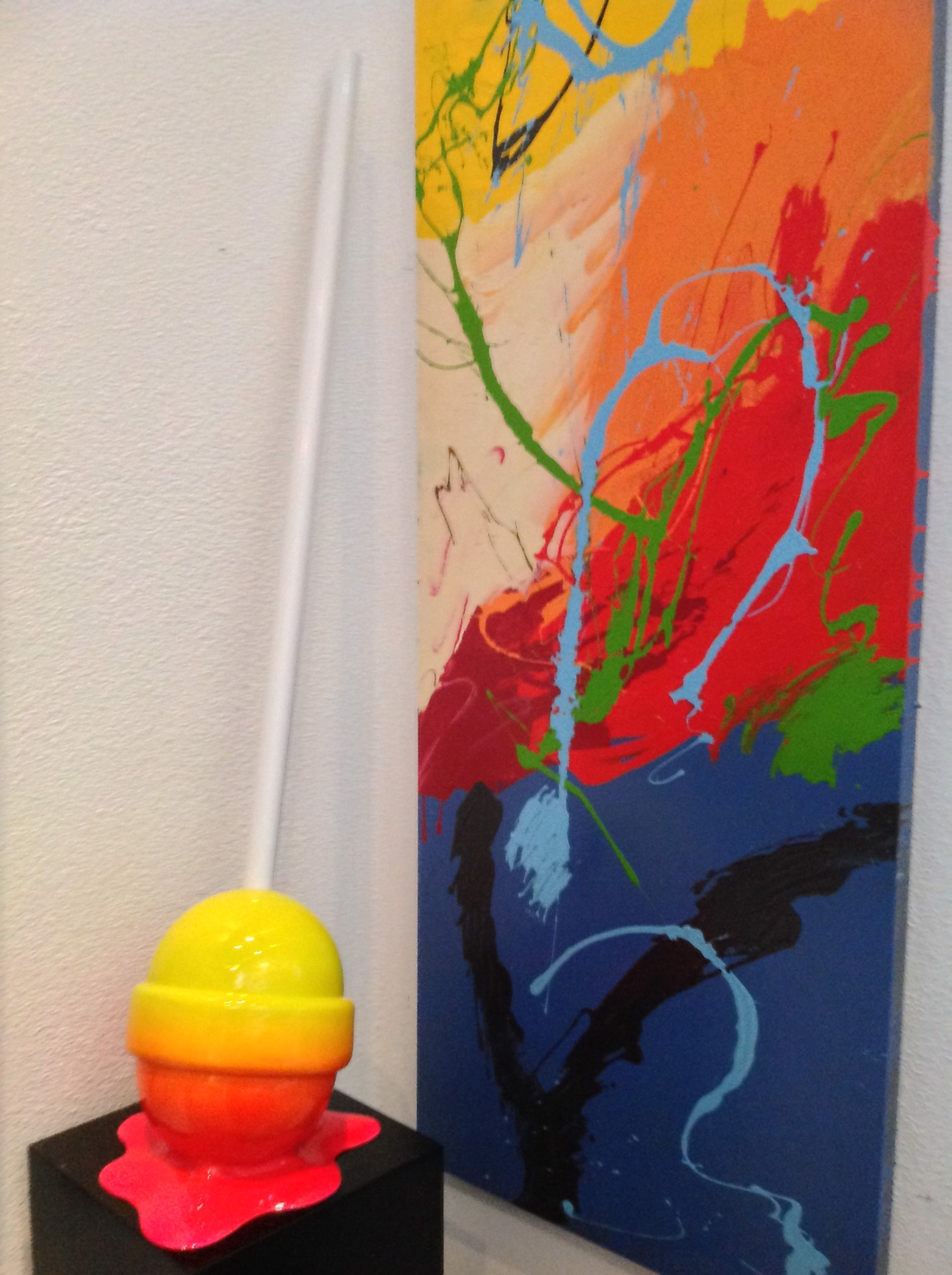 """The Sweet life"" Medium Yellow/Fuschia Puddle lollipop by Elena Bulatova"