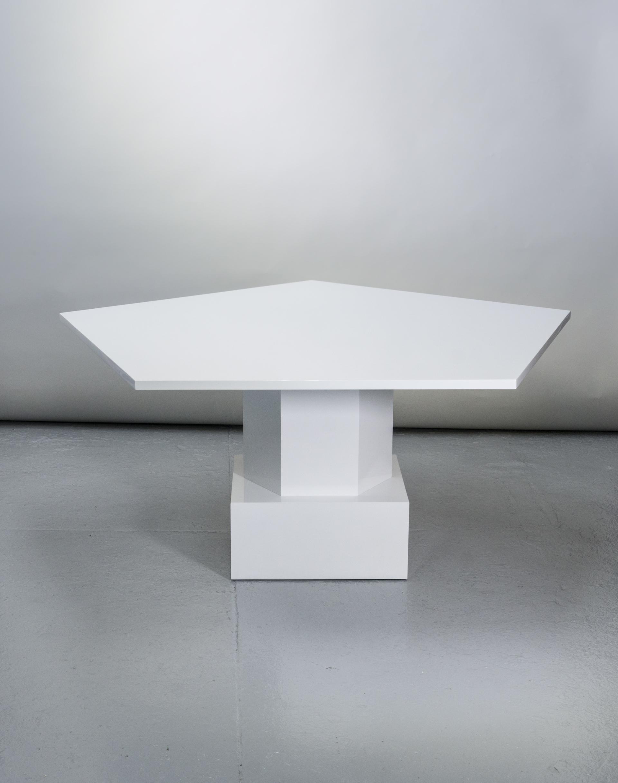 White lacquer Pentagonal table by Tinatin Kilaberidze