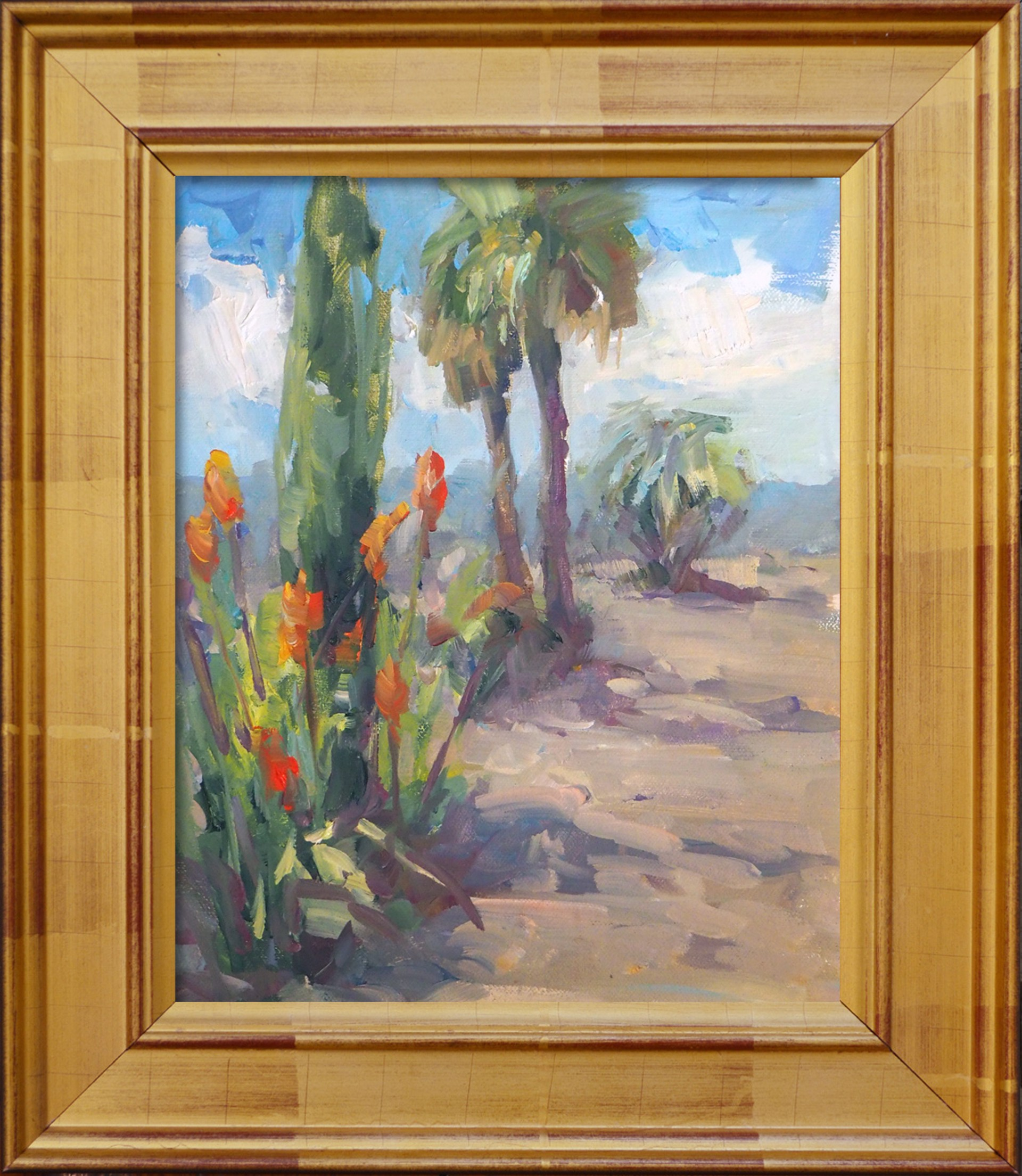 Cana Lillies Cypress and Palms by Karen Hewitt Hagan