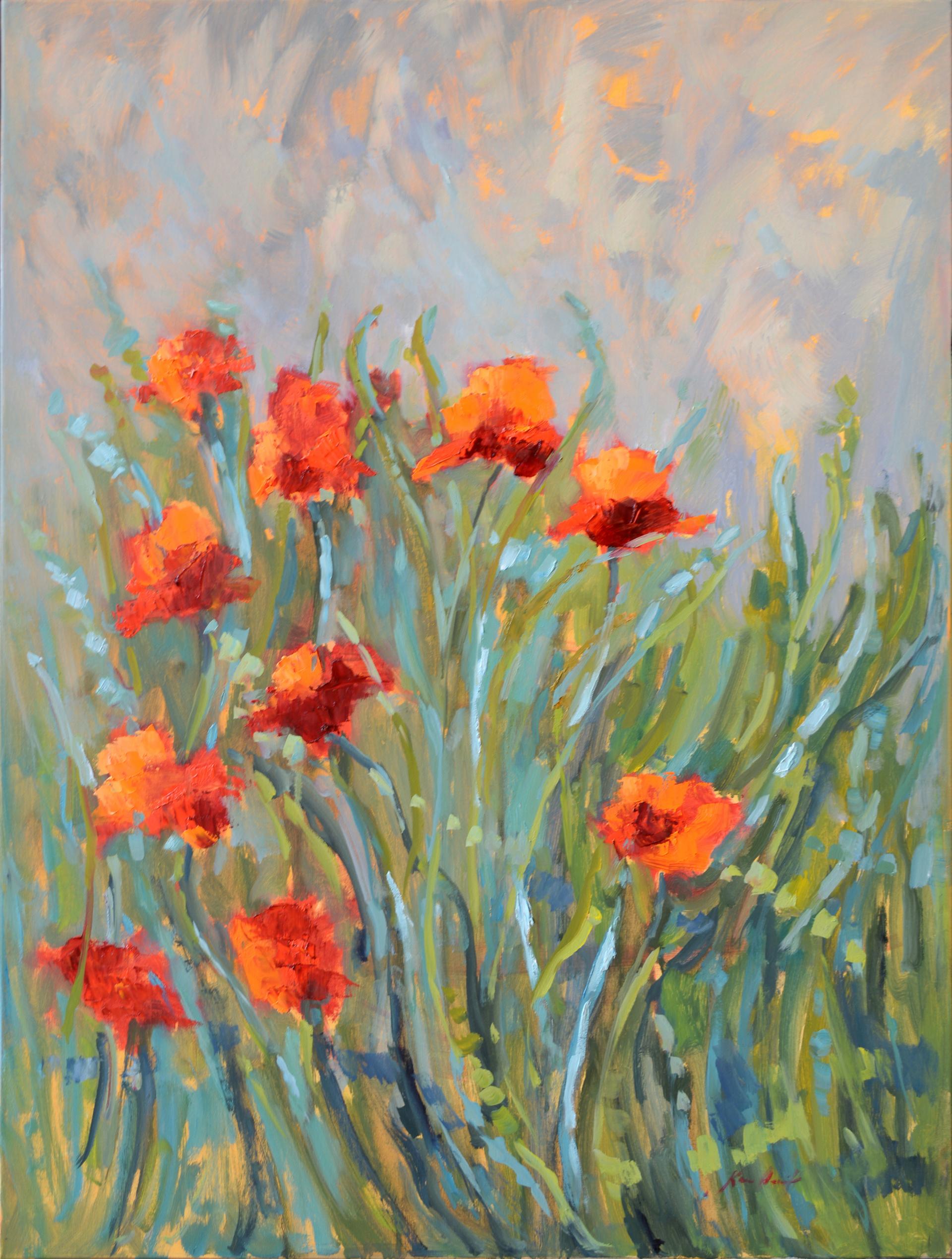 Windy Day in the Poppy Field by Karen Hewitt Hagan