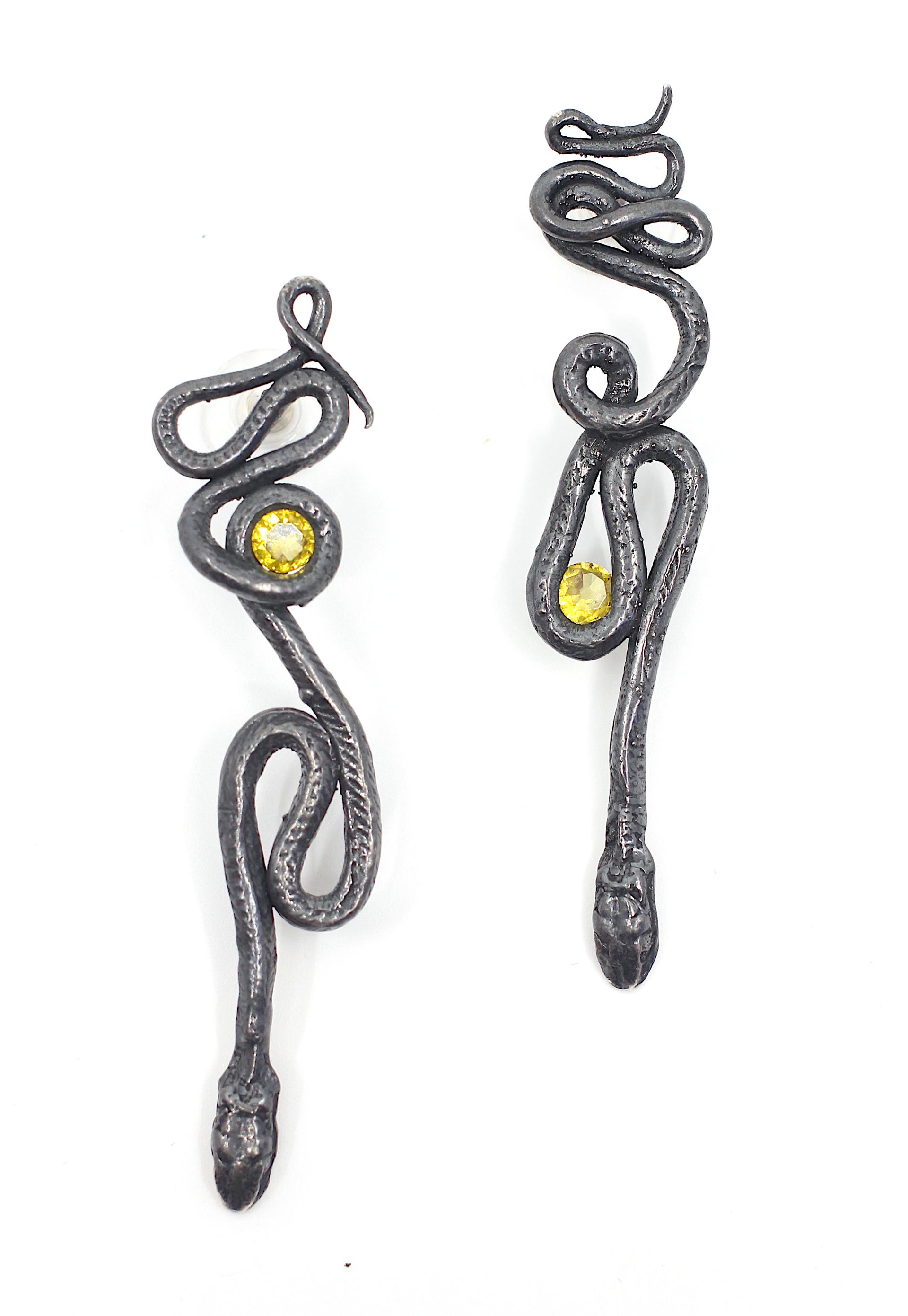 Yellow Topaz Serpentine Earrings by Anna Johnson