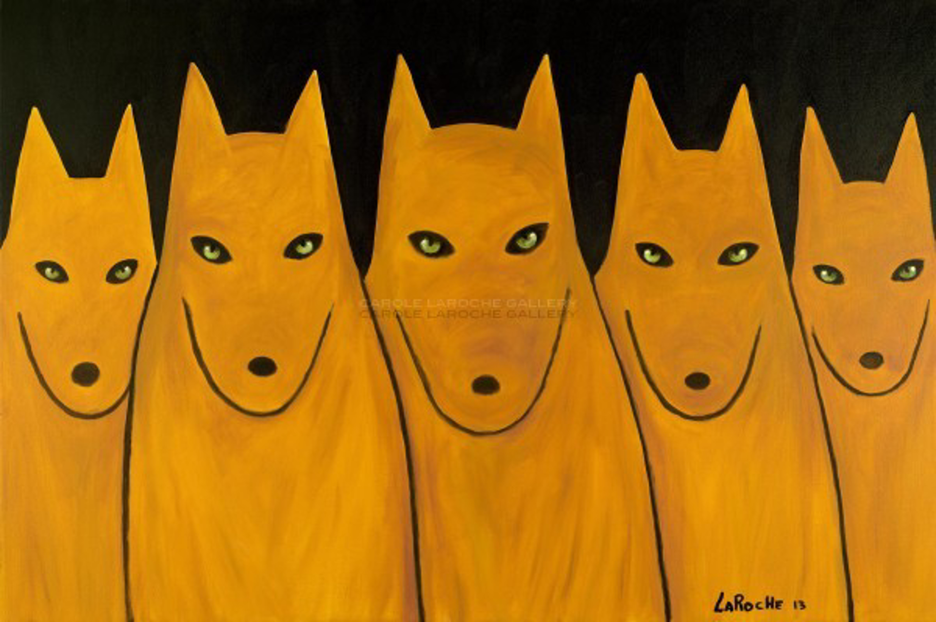 """GOLDEN WOLF PACK - limited edition giclee on canvas: (large) 40""""x60"""" $3500 or (medium) 30""""x42"""" $2200 by Carole LaRoche"""