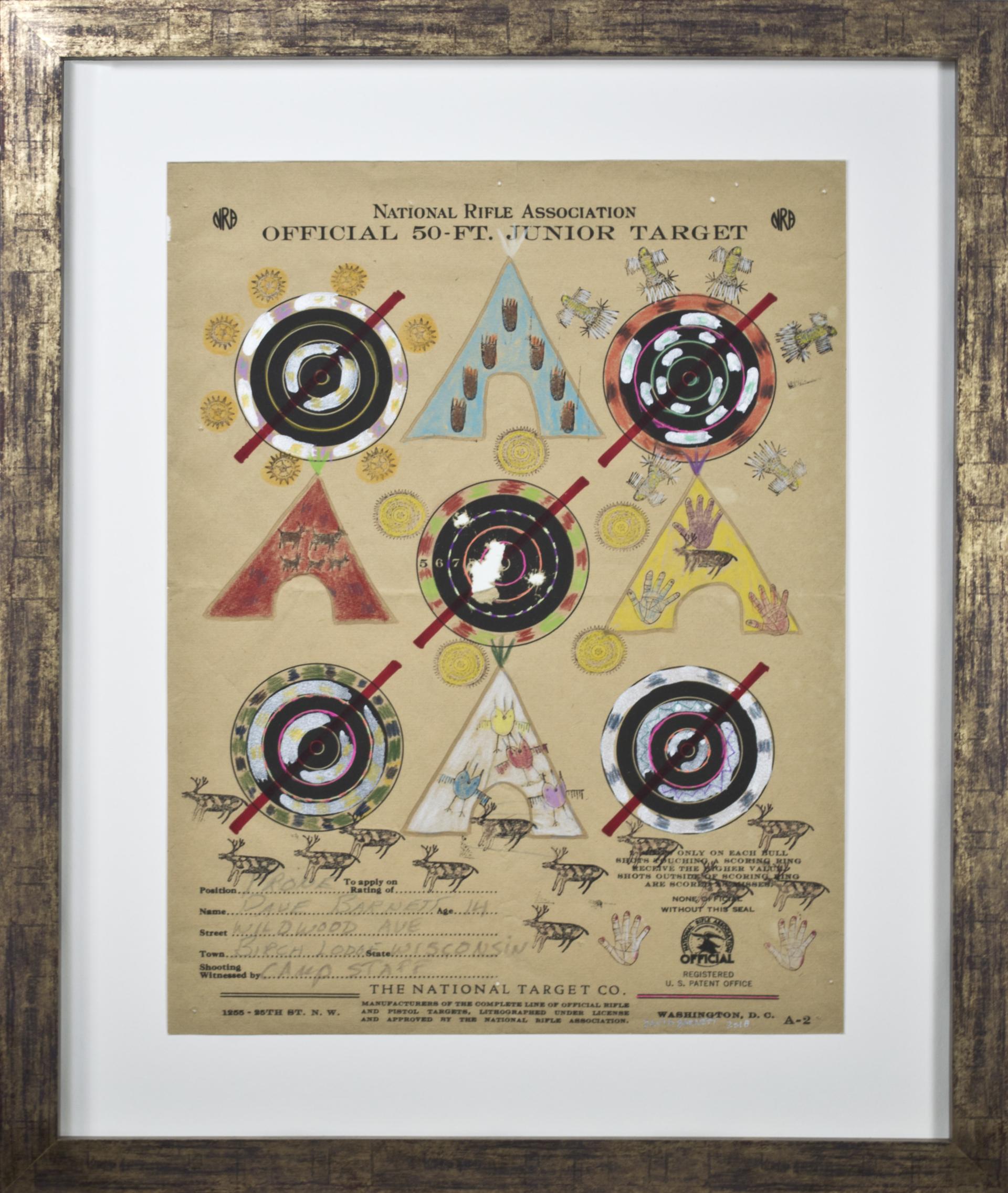 Target Series No. 7: No More Shootings, No More Guns with Bald Eagle and Full Moon by David Barnett